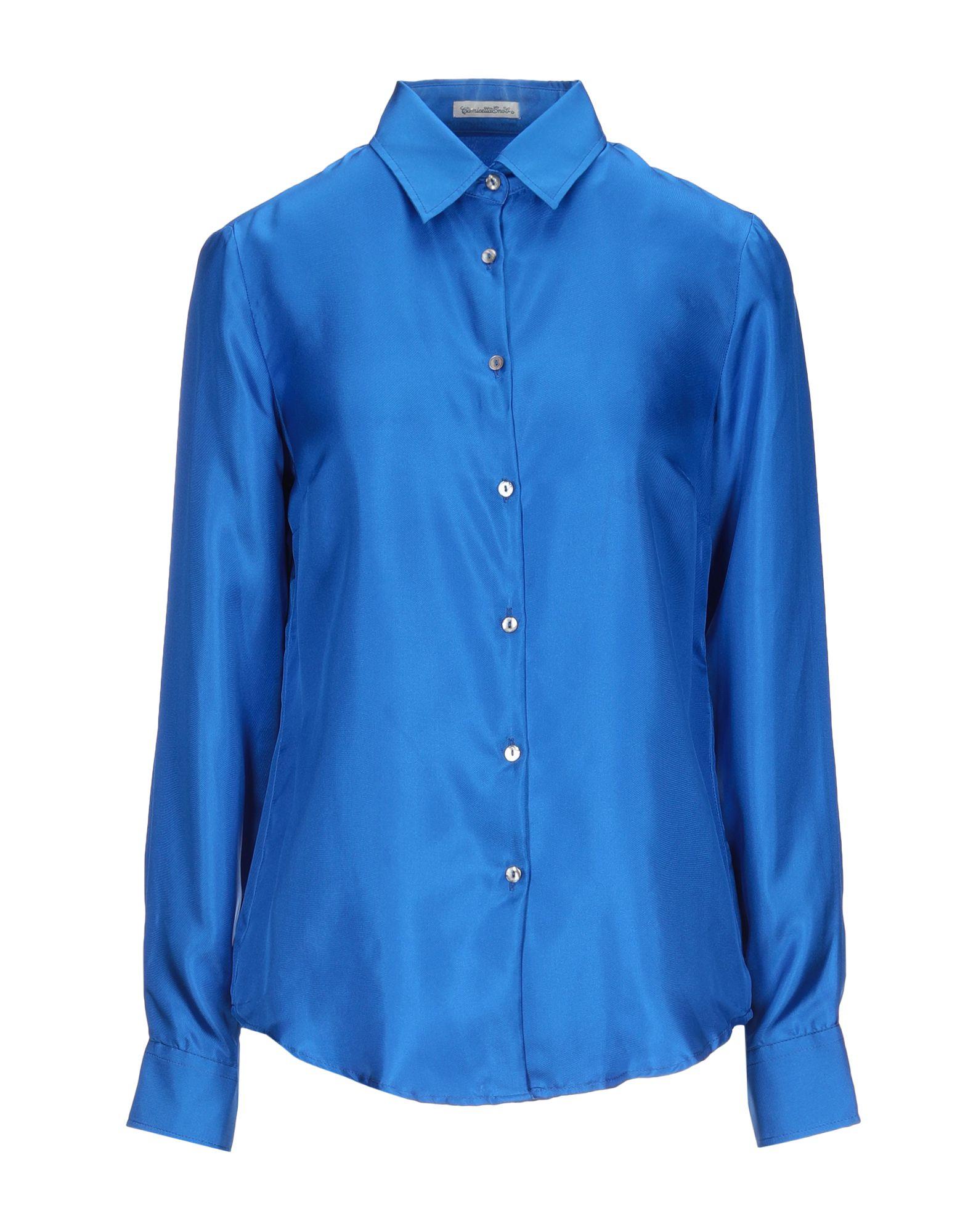 《セール開催中》CAMICETTASNOB レディース シャツ ブライトブルー 40 シルク 100%