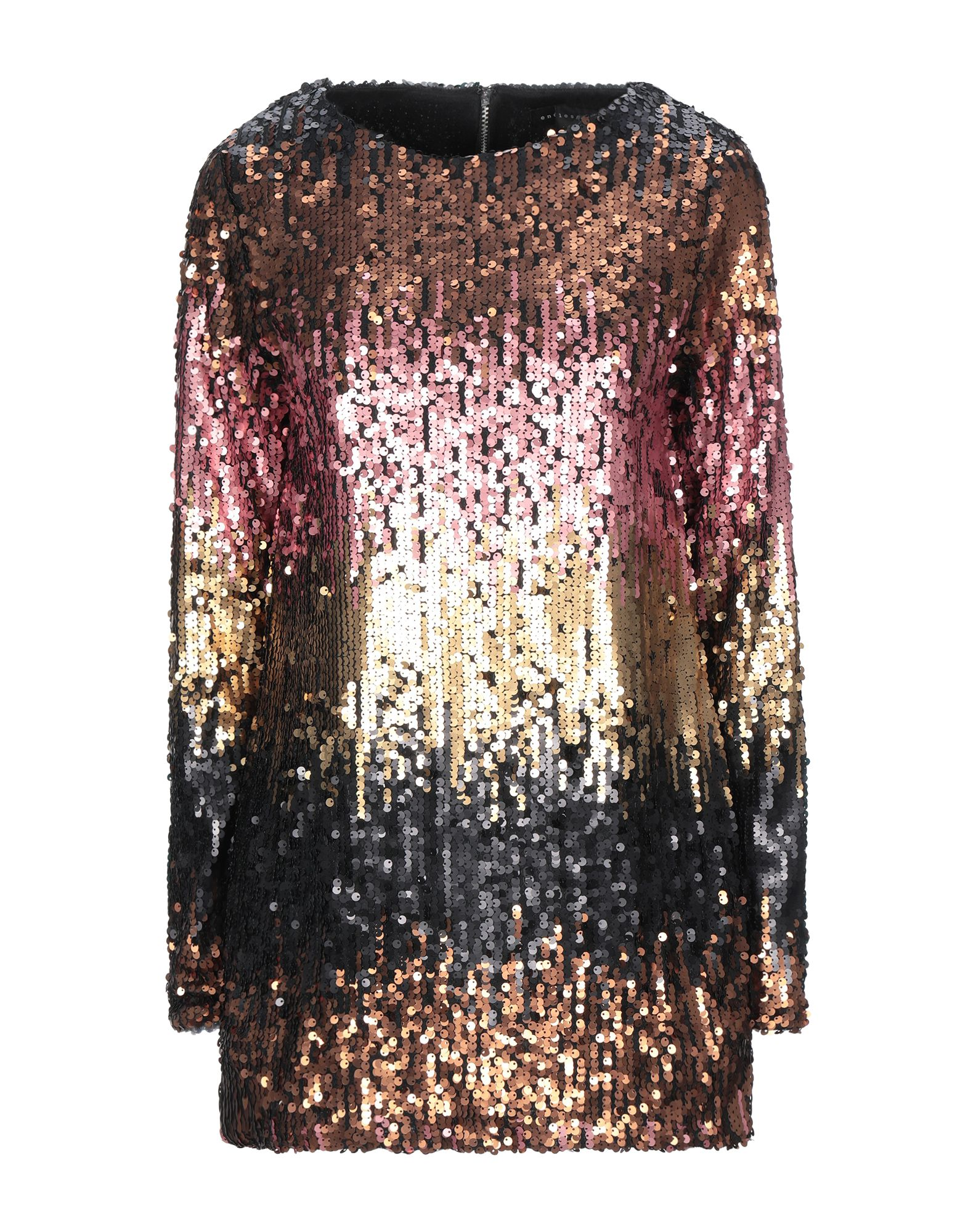 ENDLESS ROSE Blouses. jersey, sequins, multicolor pattern, rear closure, zipper closure, long sleeves, round collar, no pockets. 100% Polyester