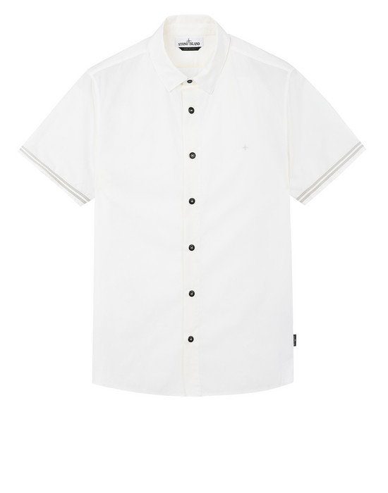STONE ISLAND 12110 Short sleeve shirt Man Ivory