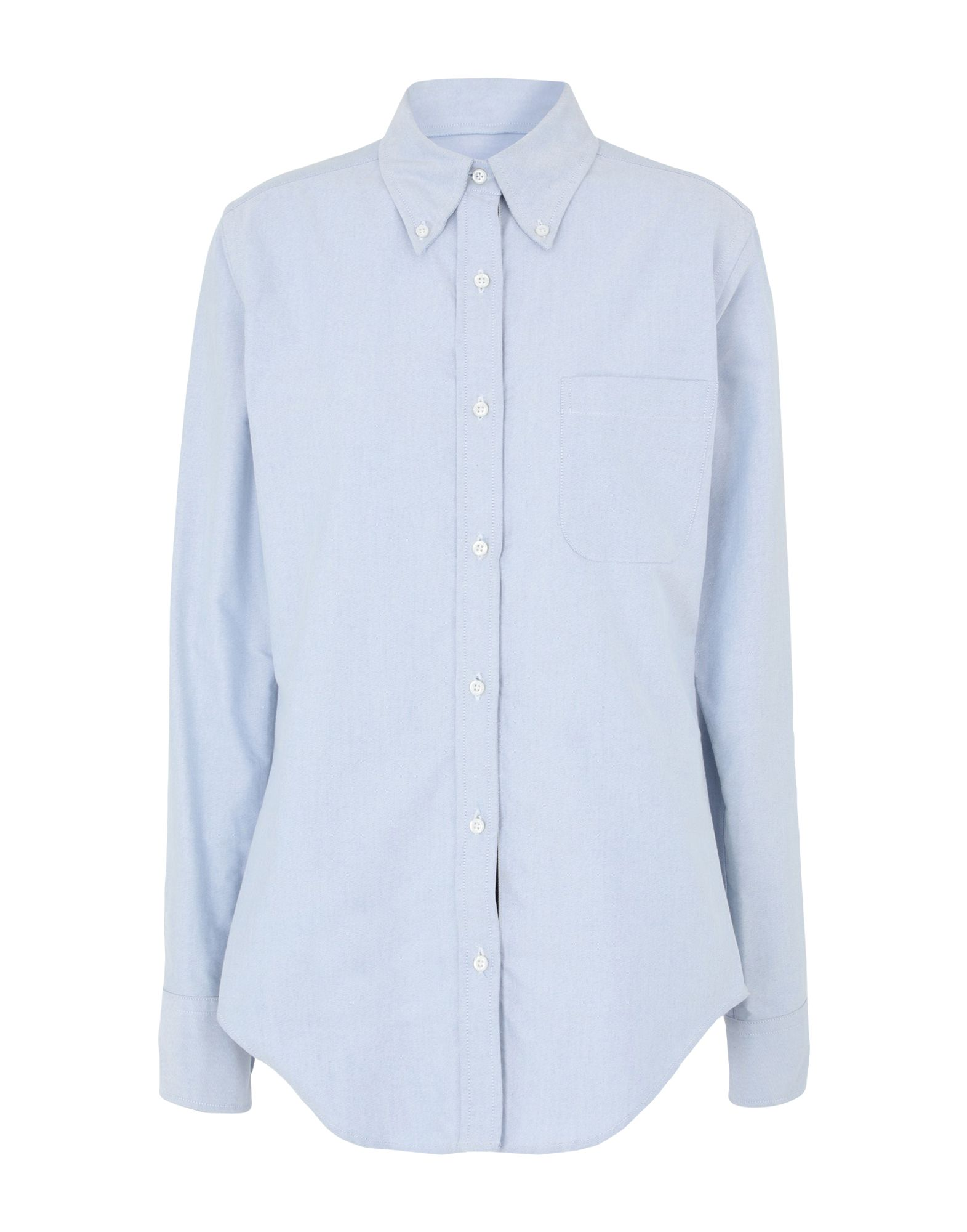 THOM BROWNE Shirts. plain weave, logo, contrasting applications, basic solid color, front closure, button closing, long sleeves, buttoned cuffs, button-down collar, single chest pocket. 100% Cotton
