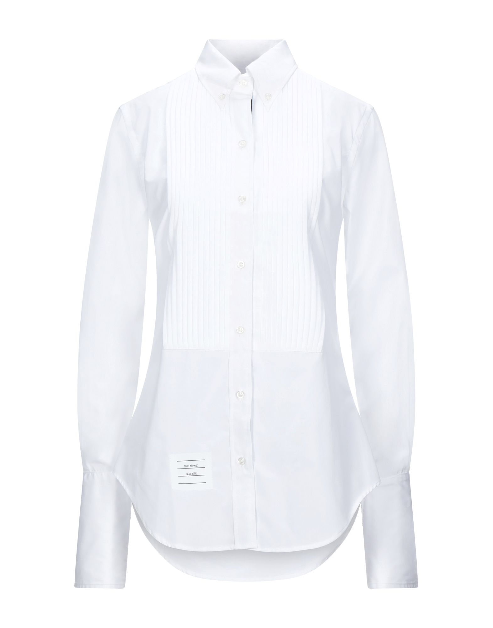 THOM BROWNE Shirts. poplin, logo, solid color, front closure, button closing, long sleeves, buttoned cuffs, button-down collar, no pockets. 100% Cotton