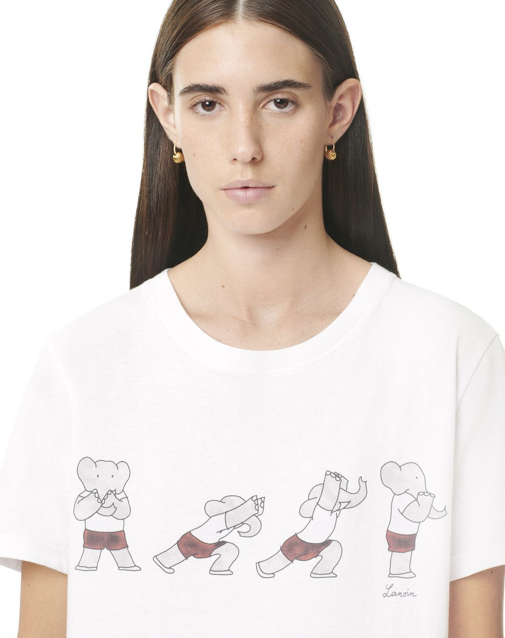 SHORT-SLEEVED COTTON T-SHIRT WITH BABAR GYM PRINT - Lanvin