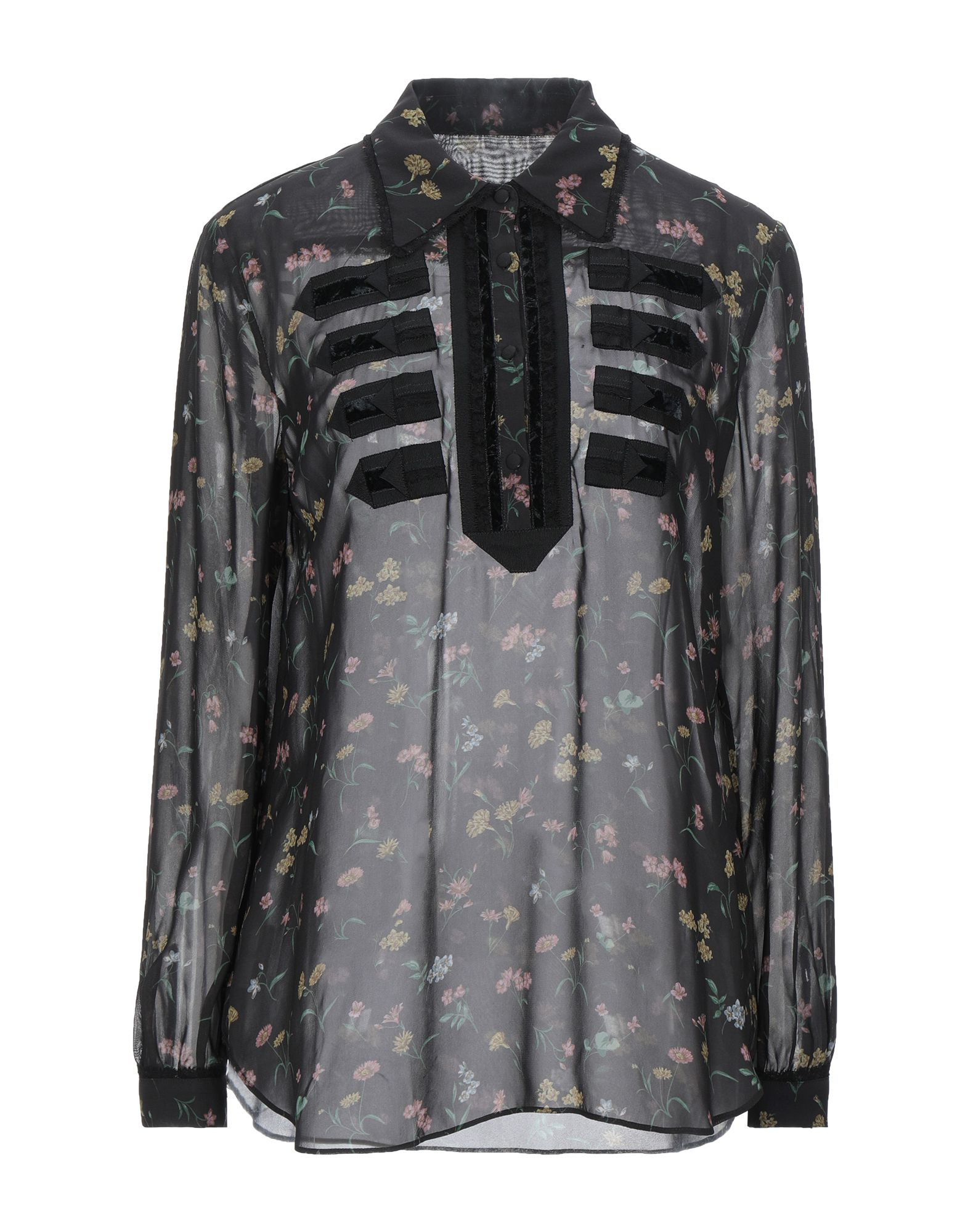 COACH Blouses. voile, contrasting applications, floral design, front closure, button closing, long sleeves, buttoned cuffs, classic neckline, no pockets. 100% Cupro