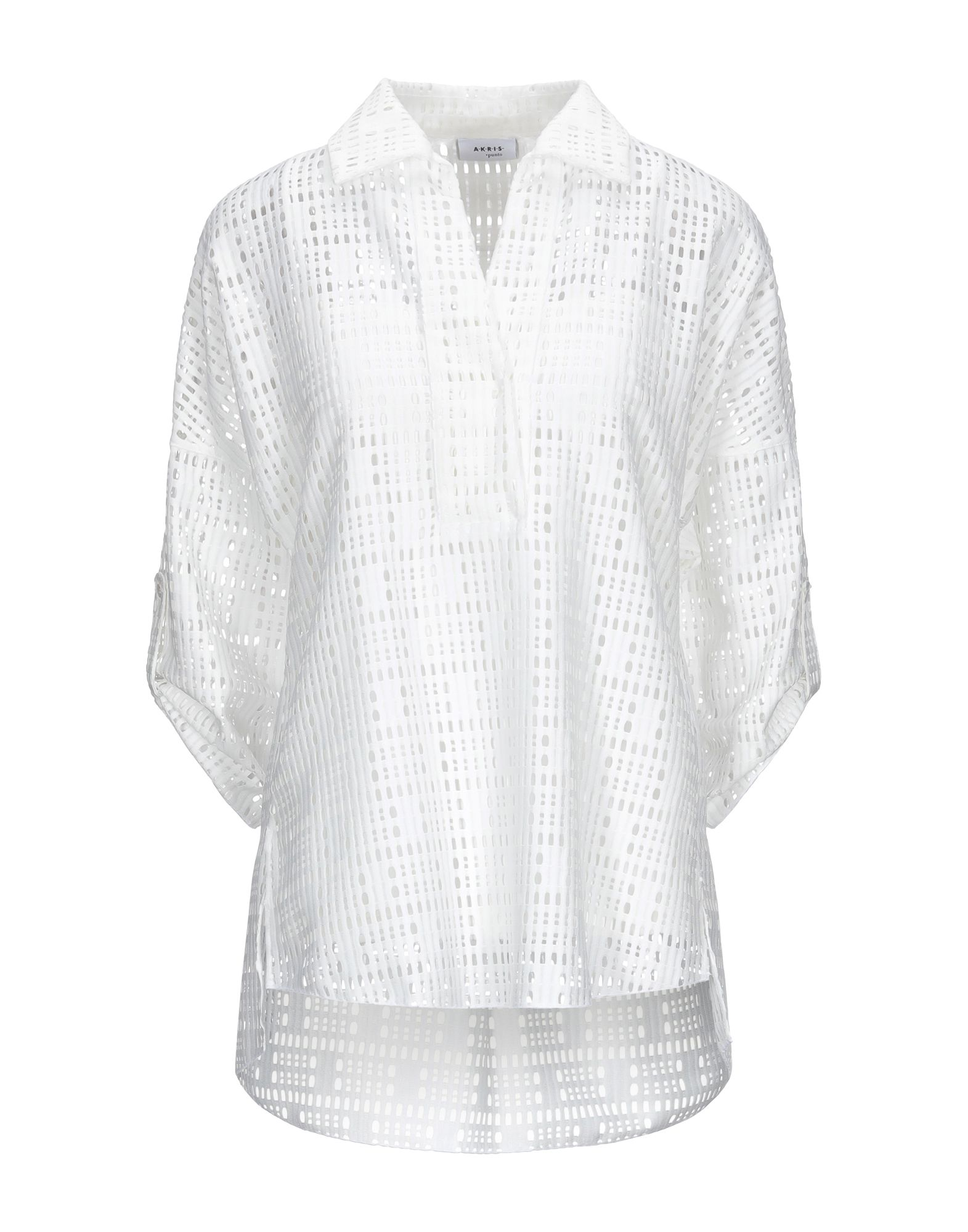 AKRIS PUNTO Blouses. jersey, no appliqués, basic solid color, front closure, snap buttons fastening, long sleeves, classic neckline, no pockets, detachable lining. 100% Polyester