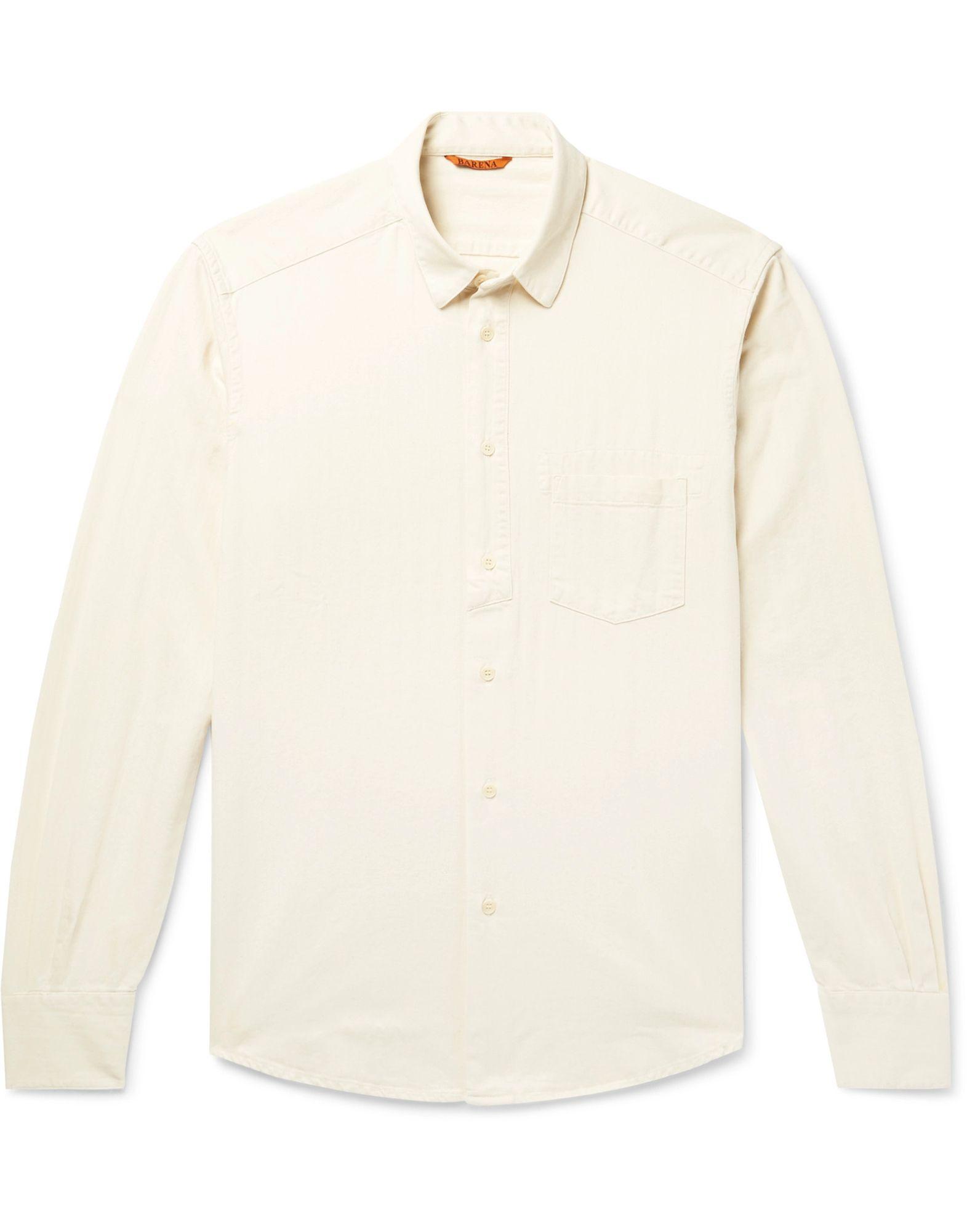 《セール開催中》BARENA メンズ シャツ アイボリー 50 コットン 100%