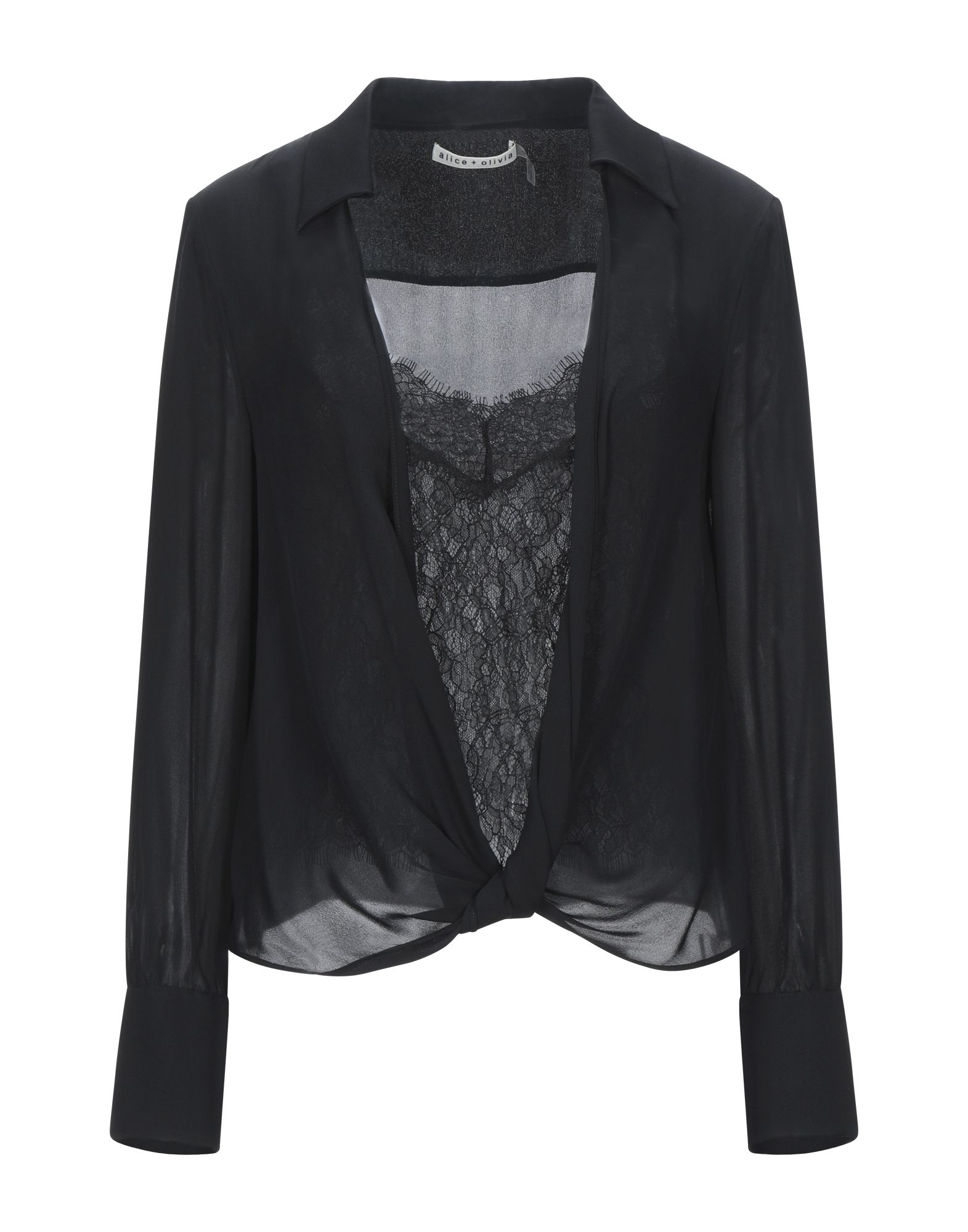 ALICE + OLIVIA Blouses. lace, chiffon, no appliqués, basic solid color, long sleeves, buttoned cuffs, v-neck, detachable lining, no pockets. 100% Silk