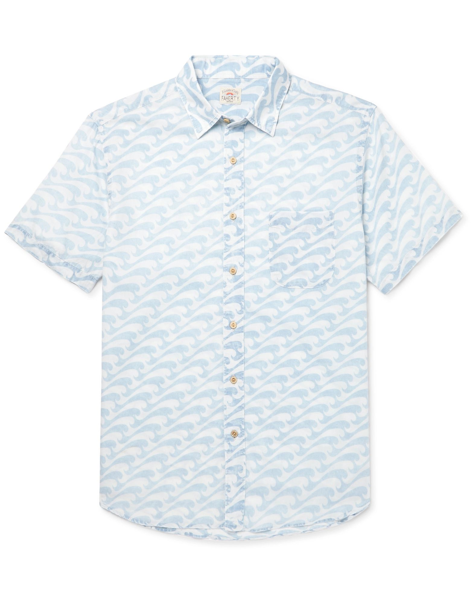 FAHERTY Shirts. plain weave, no appliqués, paisley-print, front closure, button closing, short sleeves, classic neckline, single chest pocket. 100% Cotton