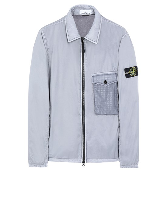 STONE ISLAND 11435 LAMY FLOCK OVER SHIRT Man Marine Blue