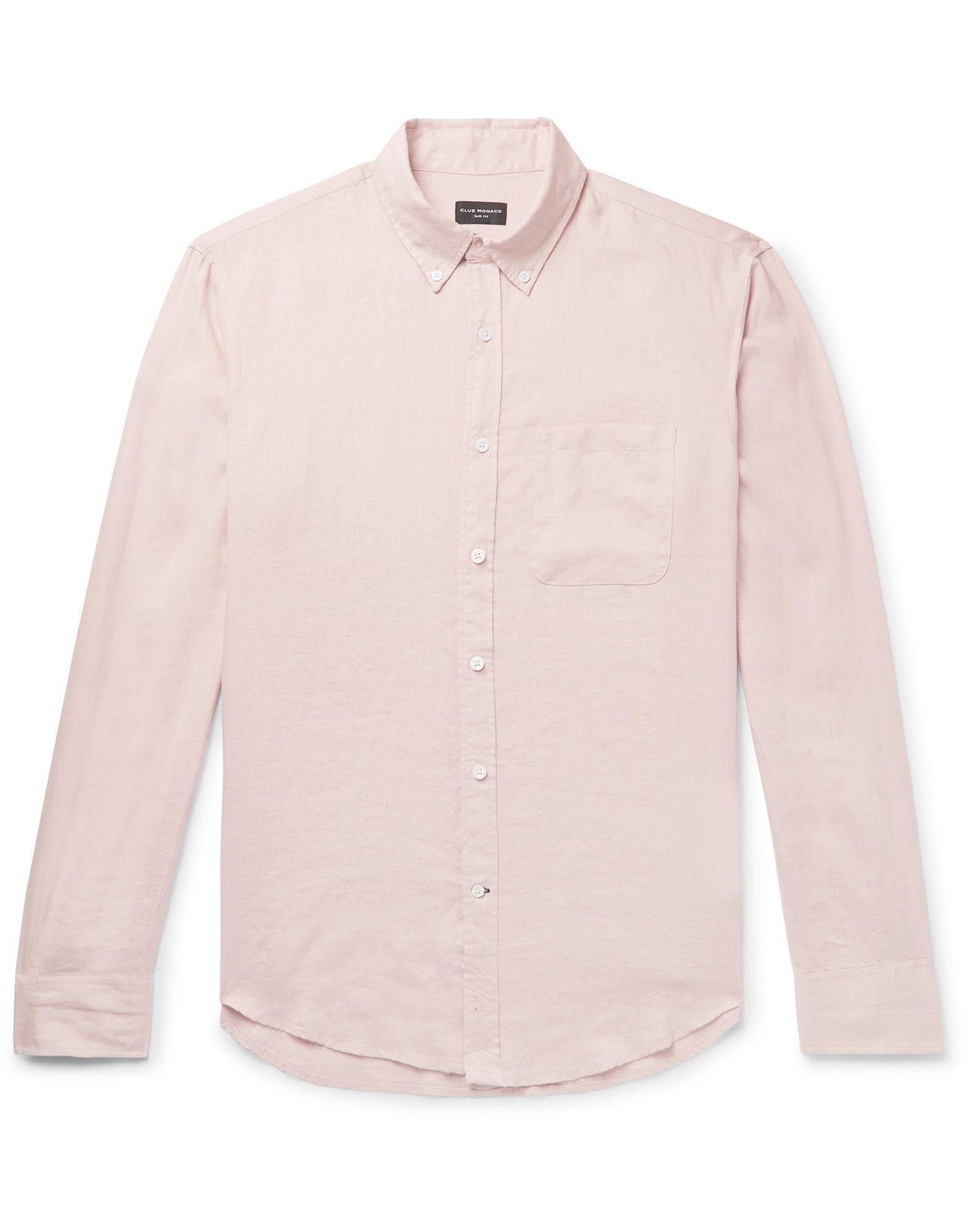 CLUB MONACO Shirts. plain weave, no appliqués, basic solid color, front closure, button closing, long sleeves, buttoned cuffs, button-down collar, single chest pocket. 100% Linen