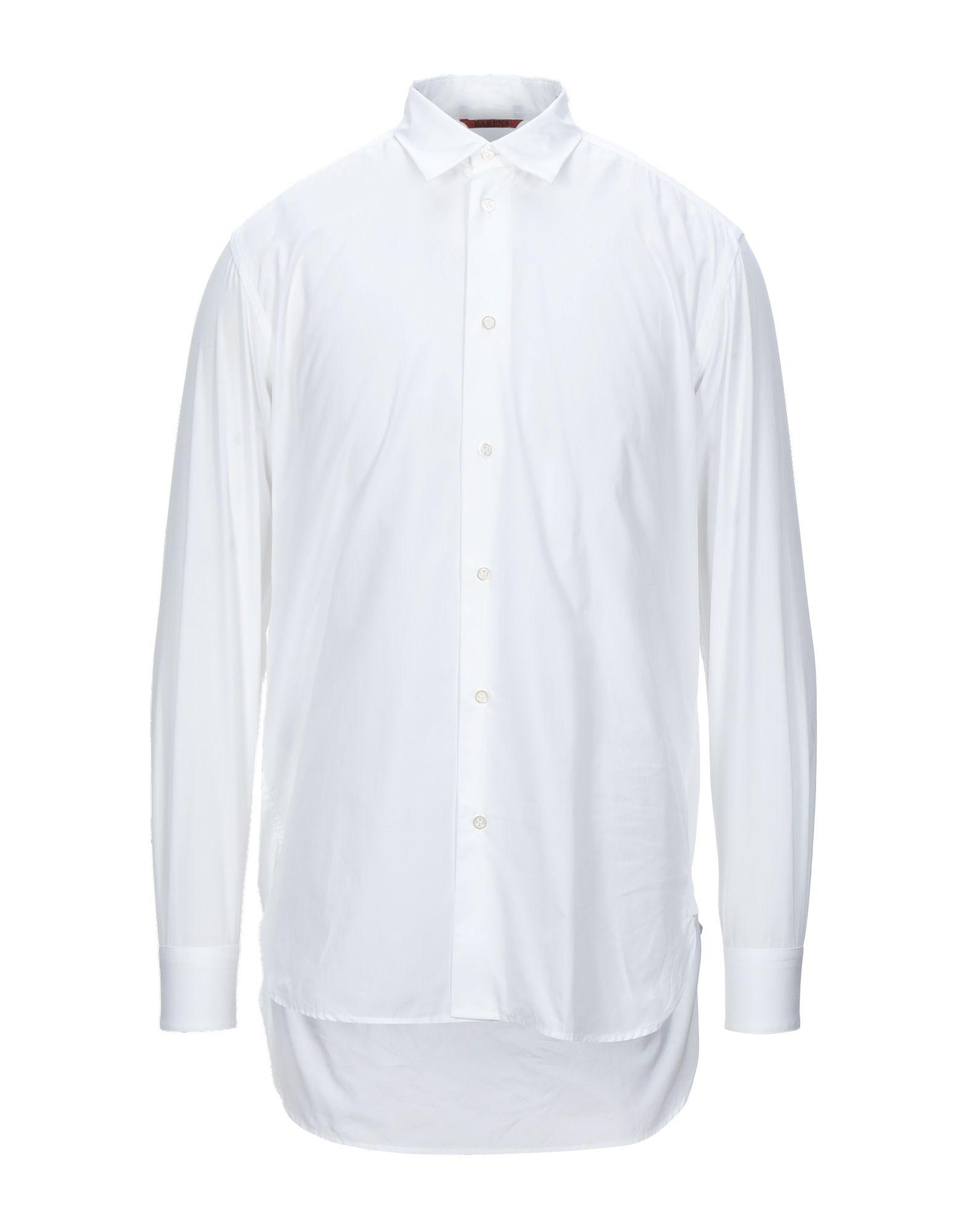 《セール開催中》BARENA メンズ シャツ ホワイト 48 コットン 100%