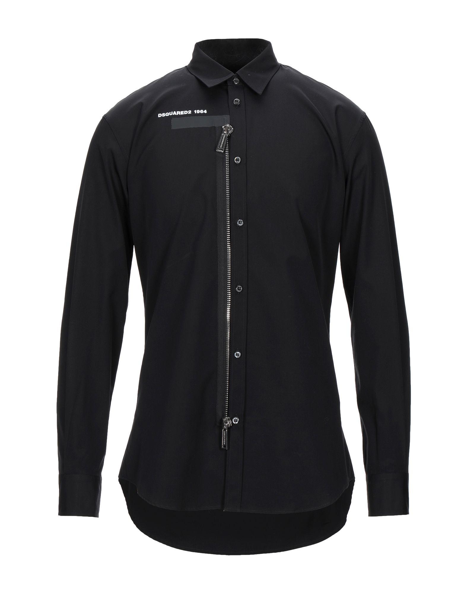 《セール開催中》DSQUARED2 メンズ シャツ ブラック 46 コットン 100%