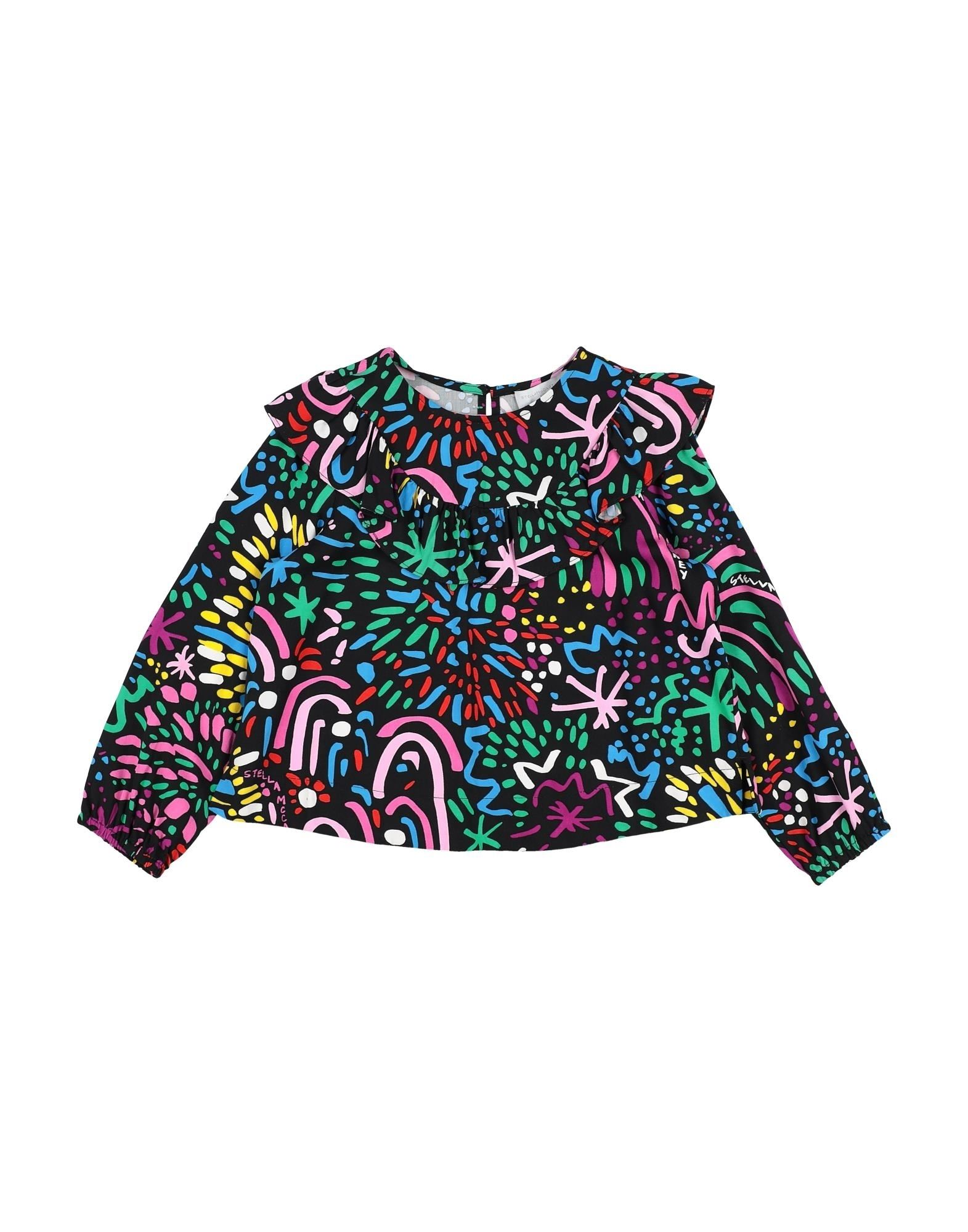 STELLA McCARTNEY KIDS Blouses. satin, ruffles, multicolor pattern, rear closure, button closing, long sleeves, round collar, no pockets, wash at 30degree c, do not dry clean, iron at 150degree c max, do not bleach, do not tumble dry. 100% Viscose