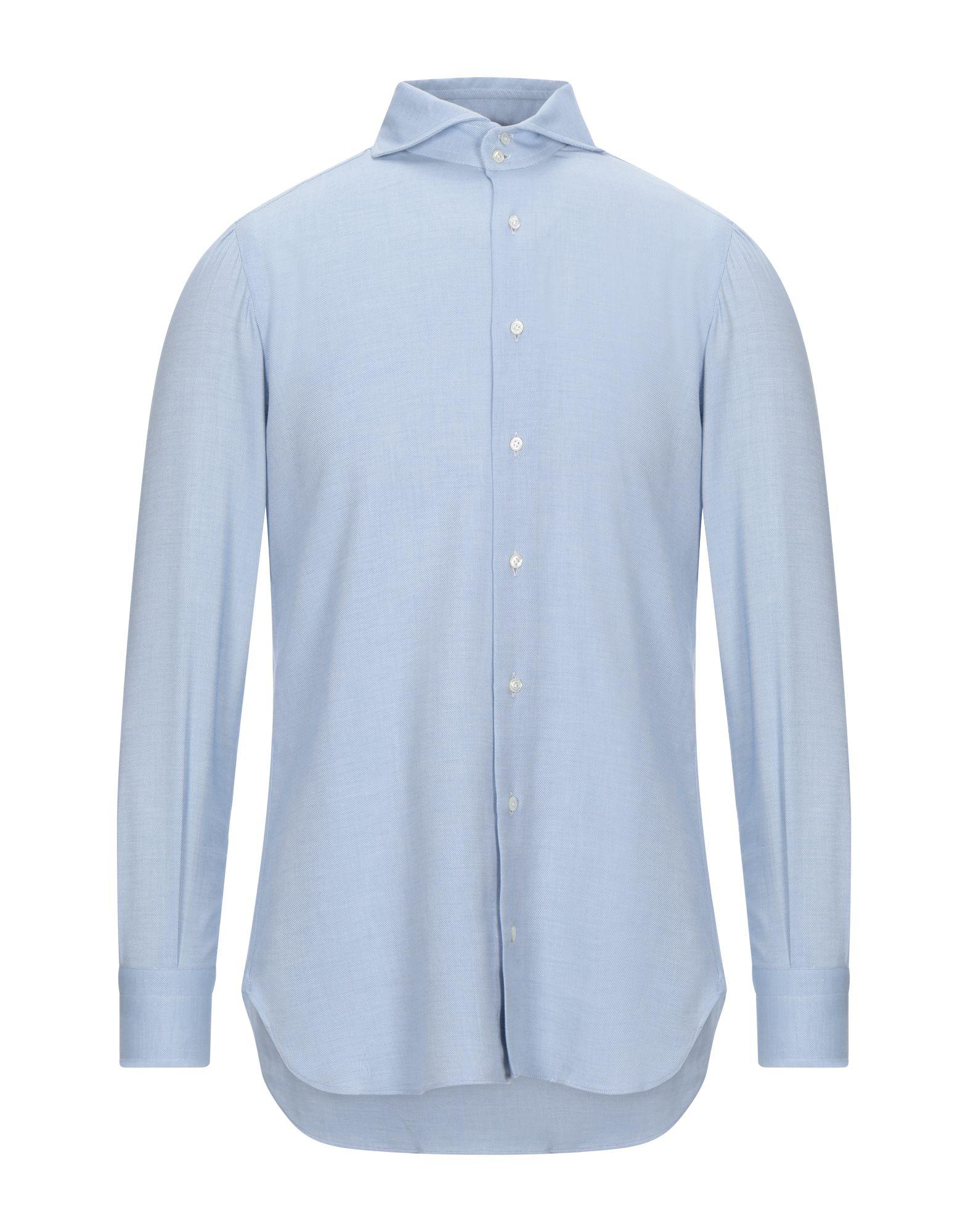 《セール開催中》STILE LATINO メンズ シャツ スカイブルー 39 コットン 85% / カシミヤ 15%
