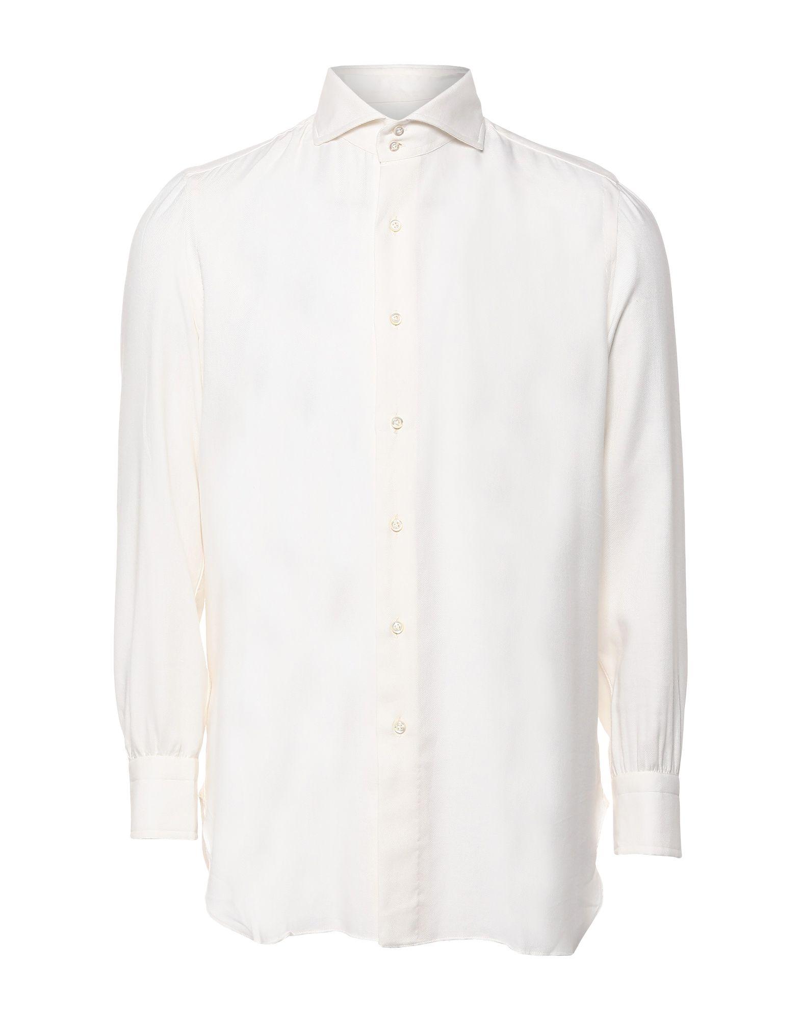 《セール開催中》STILE LATINO メンズ シャツ アイボリー 38 コットン 85% / カシミヤ 15%