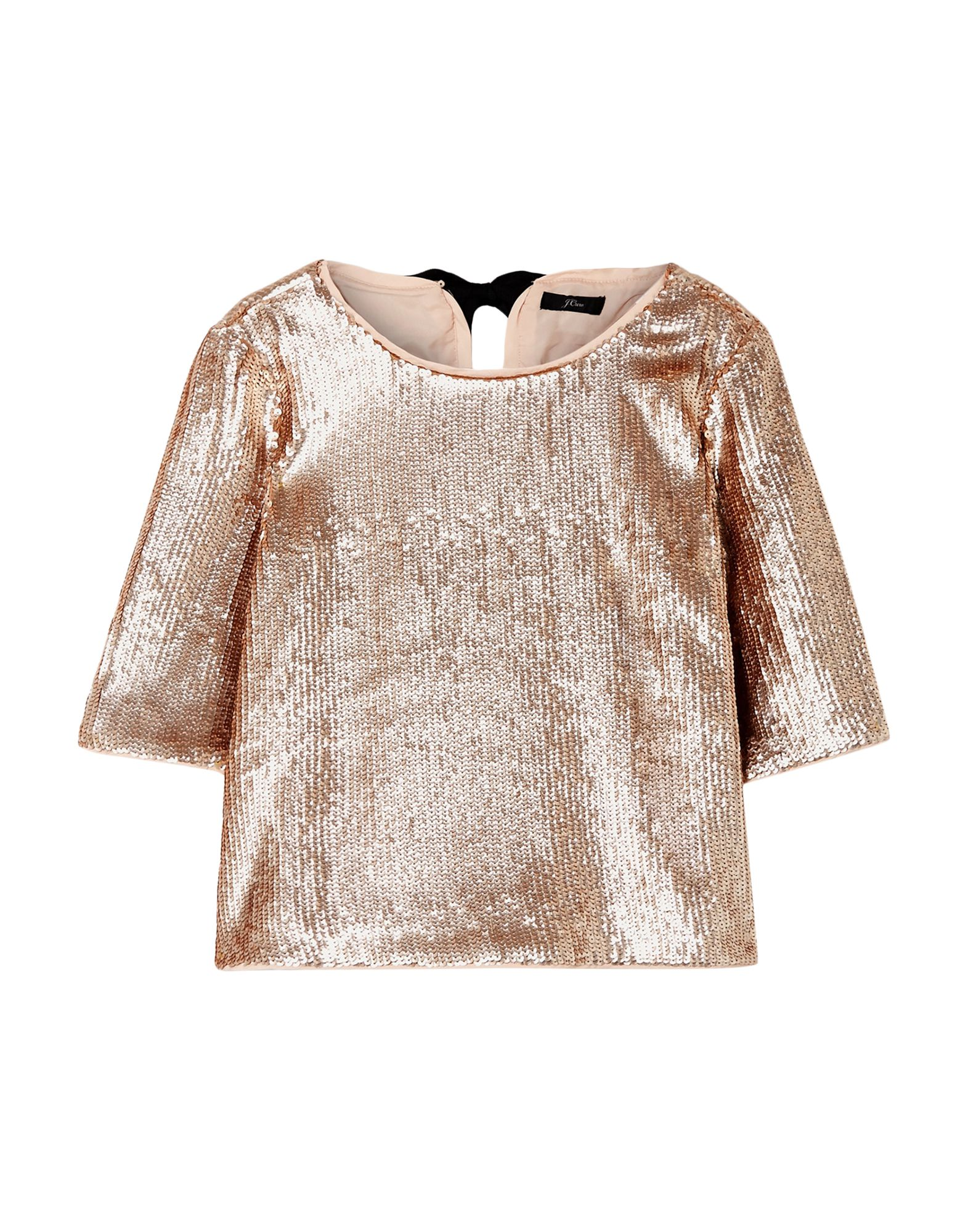 J.CREW Blouses. crepe, no appliqués, basic solid color, rear closure, self-tie wrap closure, short sleeves, round collar, no pockets, fully lined. 100% Polyester