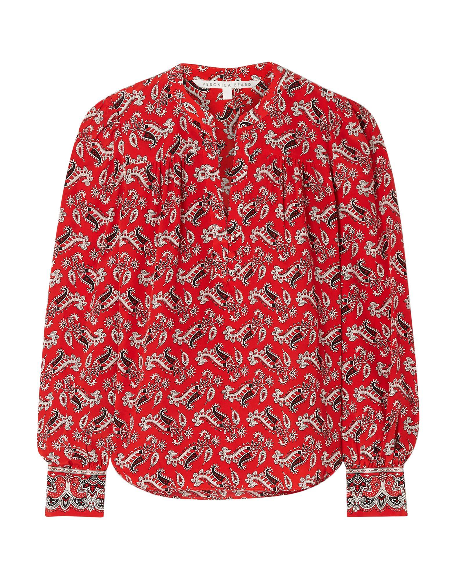 VERONICA BEARD Blouses. crepe, no appliqués, paisley-print, front closure, button closing, long sleeves, buttoned cuffs, v-neck, no pockets. 100% Silk