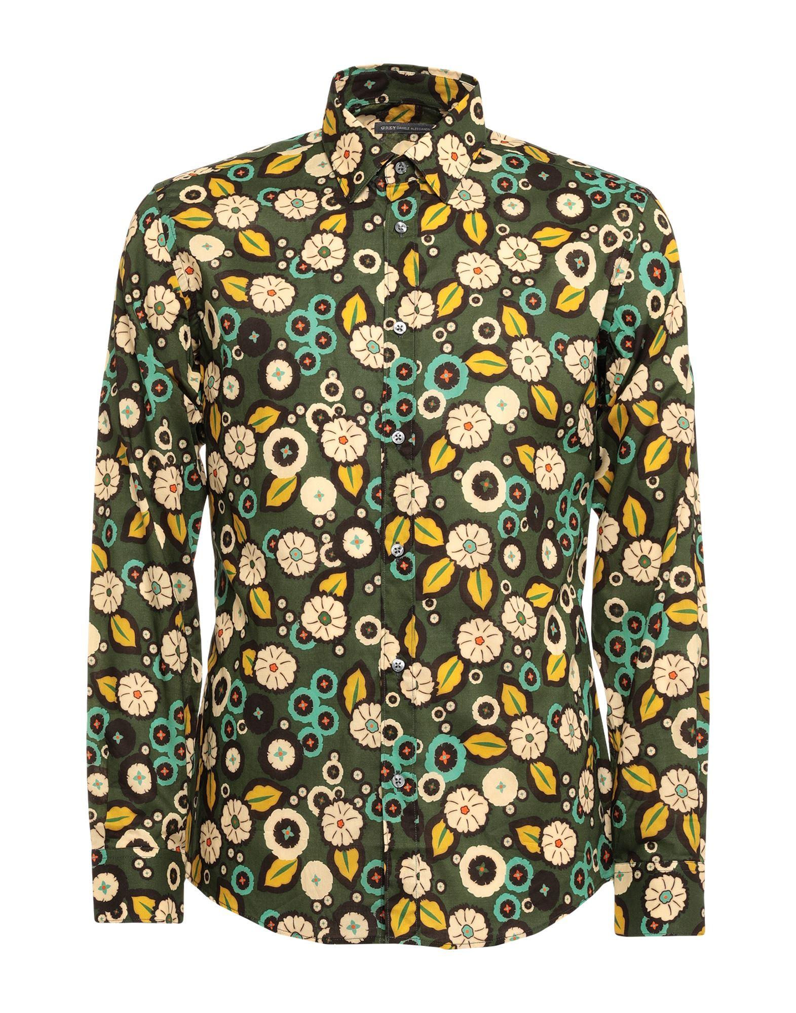《セール開催中》GREY DANIELE ALESSANDRINI メンズ シャツ ミリタリーグリーン 39 コットン 100%