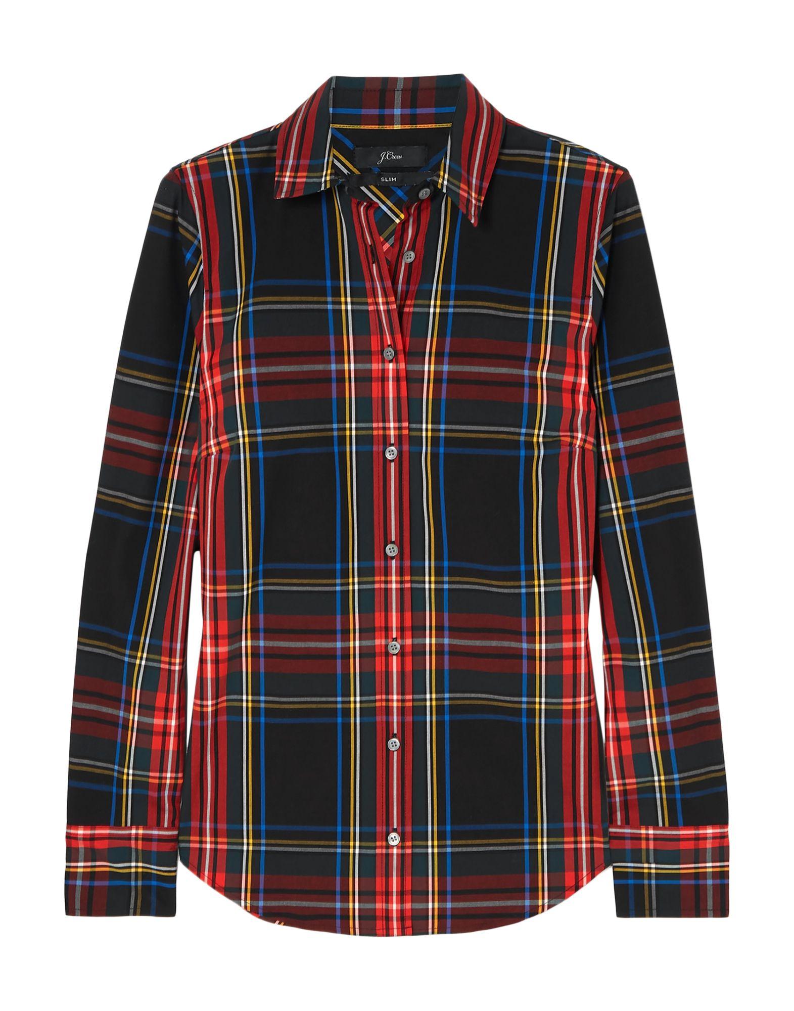 J.CREW Shirts. plain weave, no appliqués, tartan plaid, front closure, button closing, long sleeves, buttoned cuffs, classic neckline, no pockets, stretch. 98% Cotton, 2% Elastane