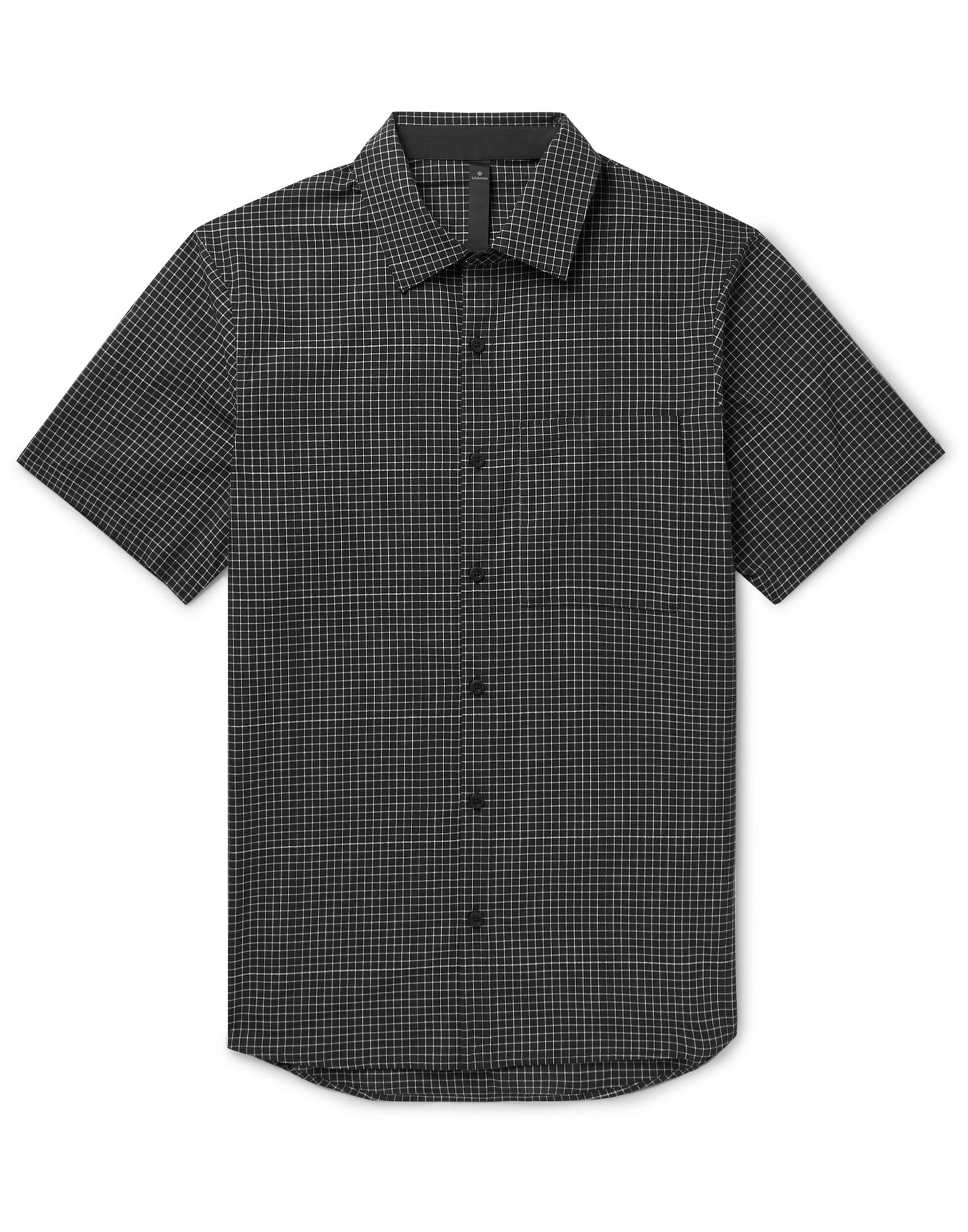 LULULEMON Shirts. plain weave, no appliqués, checked, front closure, button closing, short sleeves, classic neckline, single chest pocket. 65% Recycled polyester, 35% Organic cotton