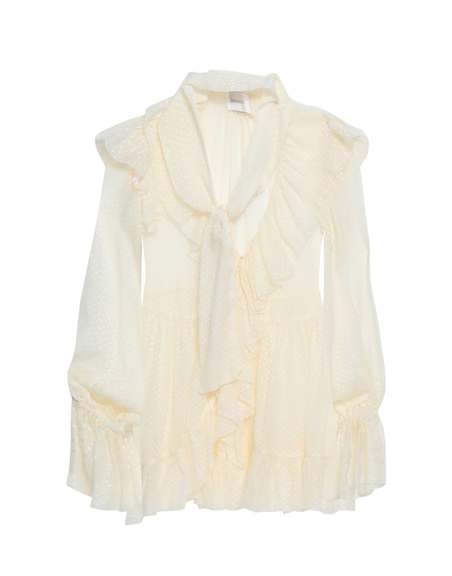 ZIMMERMANN Shirts. crepe, no appliqués, solid color, front closure, button closing, long sleeves, v-neck, no pockets. 65% Silk, 35% Viscose