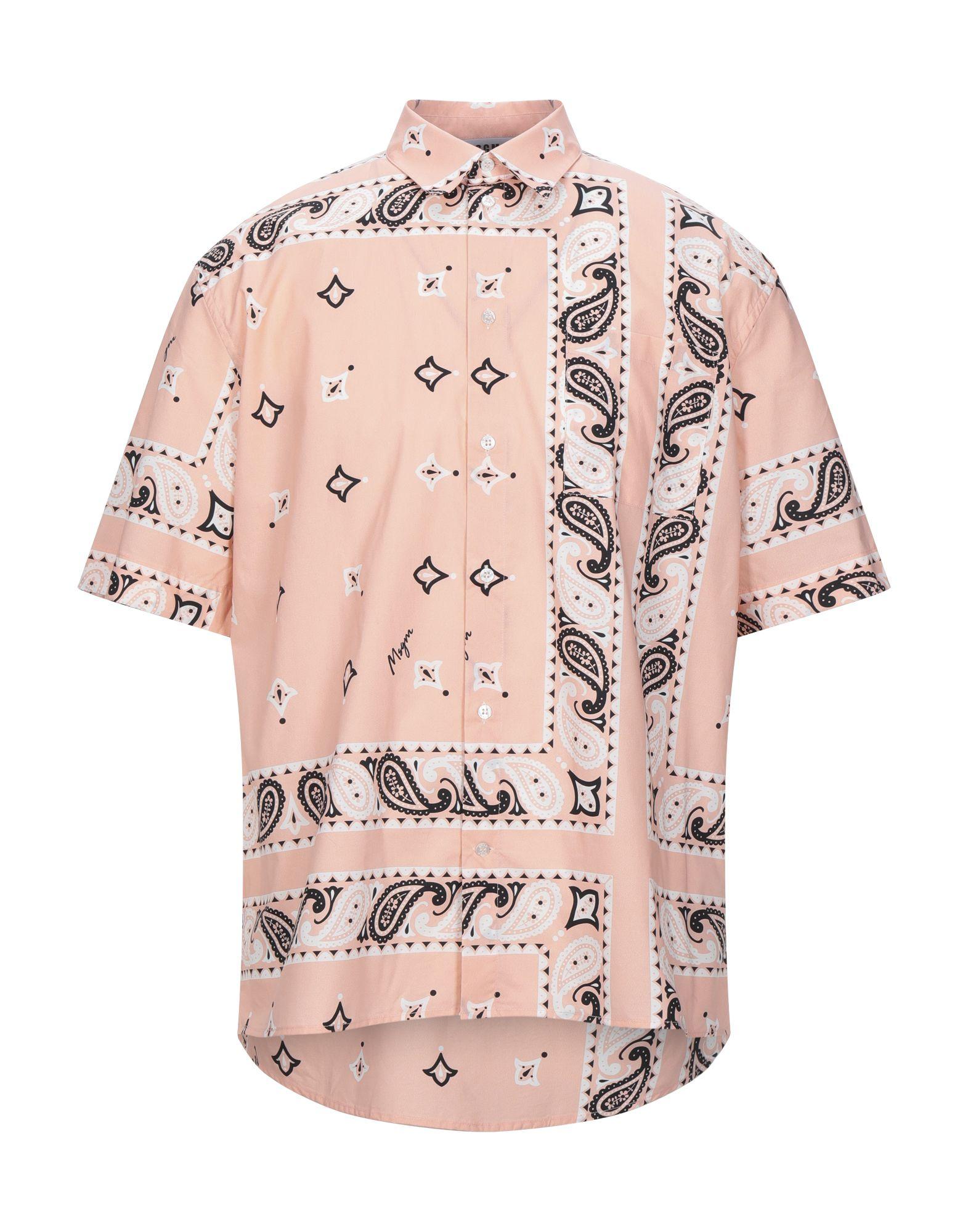 MSGM Shirts. plain weave, no appliqués, paisley-print, front closure, button closing, short sleeves, classic neckline, single chest pocket. 100% Cotton
