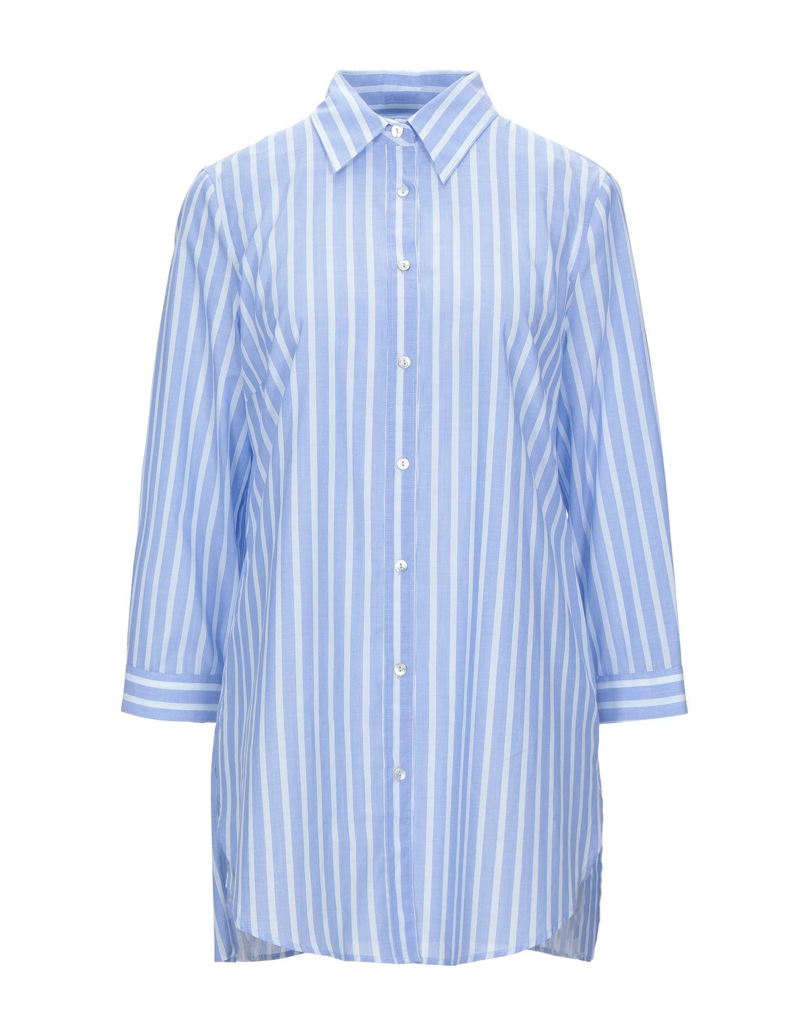 《セール開催中》CAMICETTASNOB レディース シャツ ブルー 40 コットン 100%