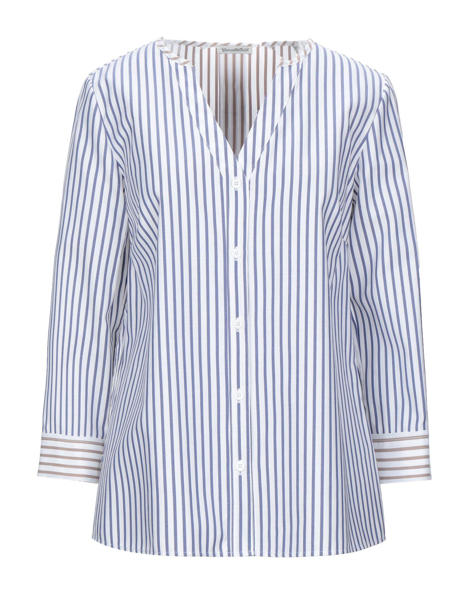 《セール開催中》CAMICETTASNOB レディース シャツ ブルー 42 コットン 100%