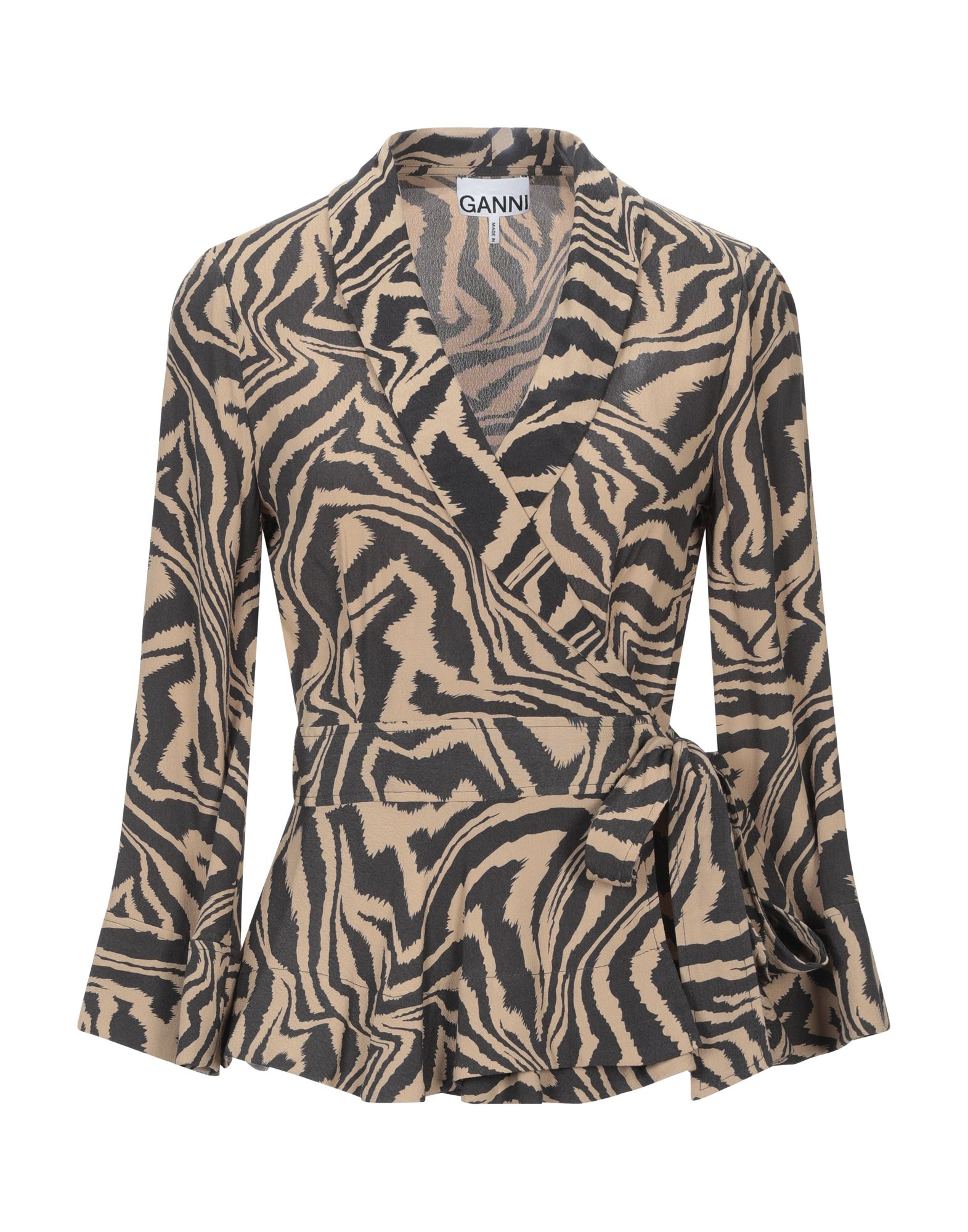 GANNI Suit jackets. plain weave, no appliqués, zebra stripes, lapel collar, long sleeves, single-breasted, no pockets, self-tie wrap closure, unlined. 100% Viscose