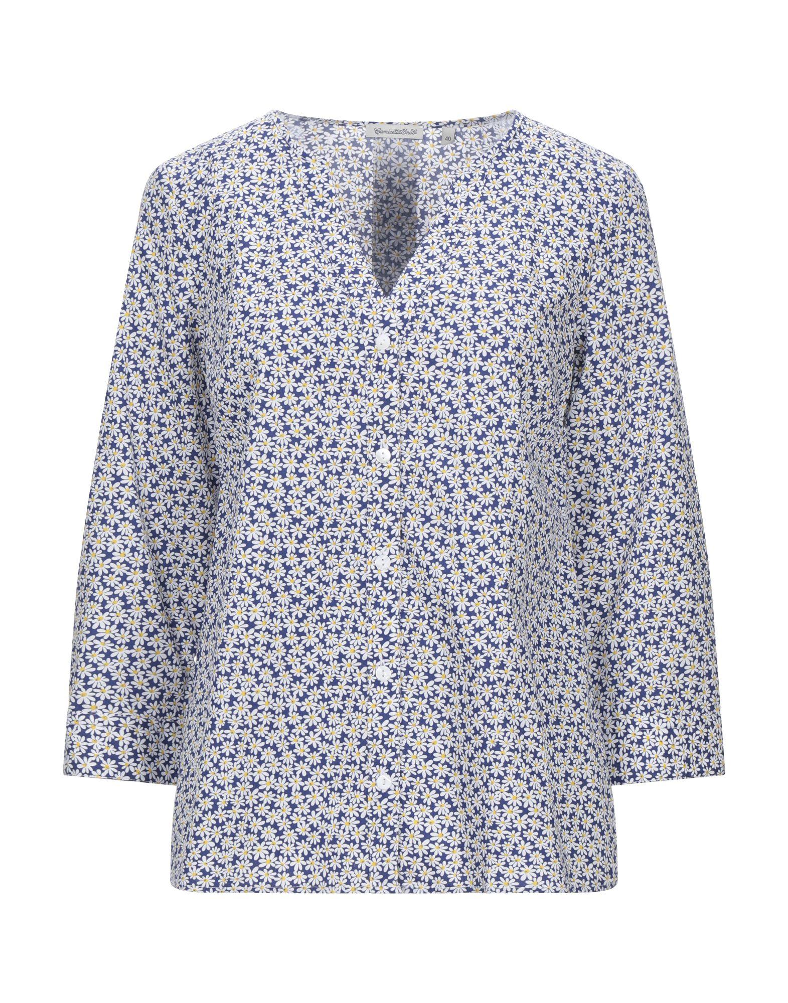 《セール開催中》CAMICETTASNOB レディース シャツ ブライトブルー 40 コットン 100%