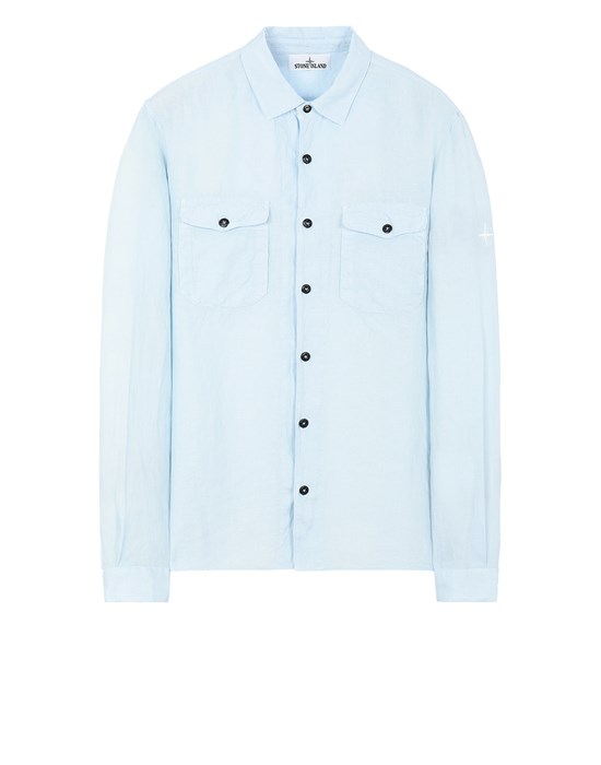 STONE ISLAND 12001 'FISSATO' TREATMENT Long sleeve shirt Man Sky Blue
