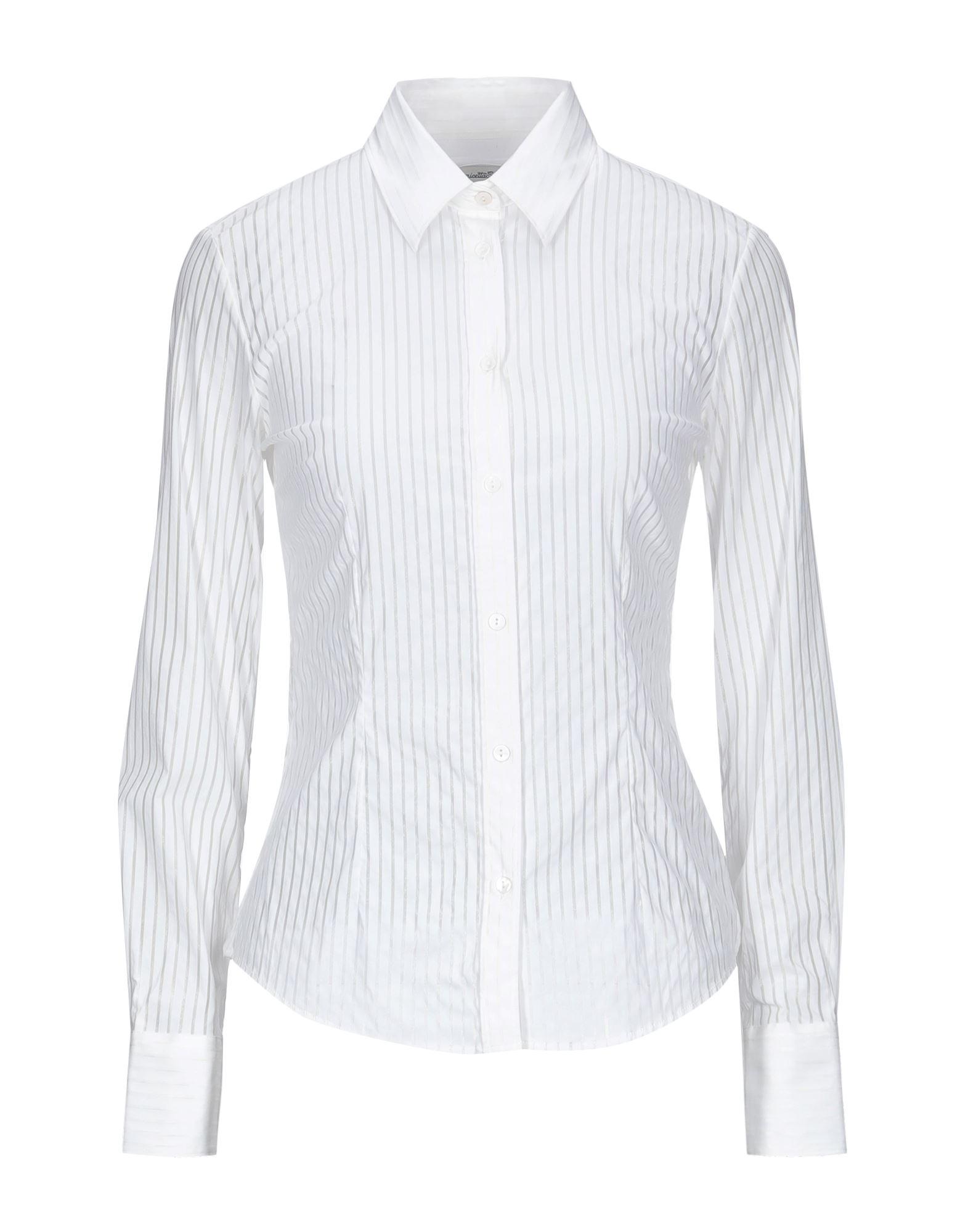 《セール開催中》CAMICETTASNOB レディース シャツ ホワイト 40 レーヨン 65% / シルク 28% / ポリウレタン 7%
