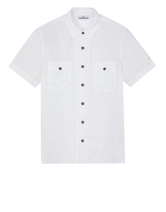 STONE ISLAND 12701 'FISSATO' TREATMENT  Short sleeve shirt Man White