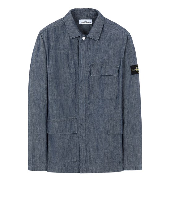 Over Shirt Man 11307 CHAMBRAY CANVAS Front STONE ISLAND