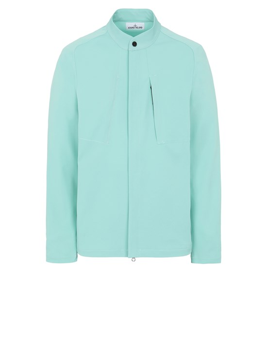 STONE ISLAND 121X4 STONE ISLAND MARINA<br>TWO-WAY STRETCH RECYCLED NYLON TWILL Over Shirt Man Aqua