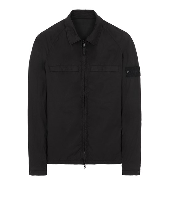 STONE ISLAND 119F4 GHOST PIECE_STRETCH COTTON TELA / RESIN TREATED NYLON - REVERSIBLE Over Shirt Man Black