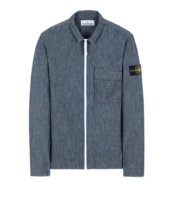 Over Shirt Herr 11207 CHAMBRAY CANVAS Front STONE ISLAND