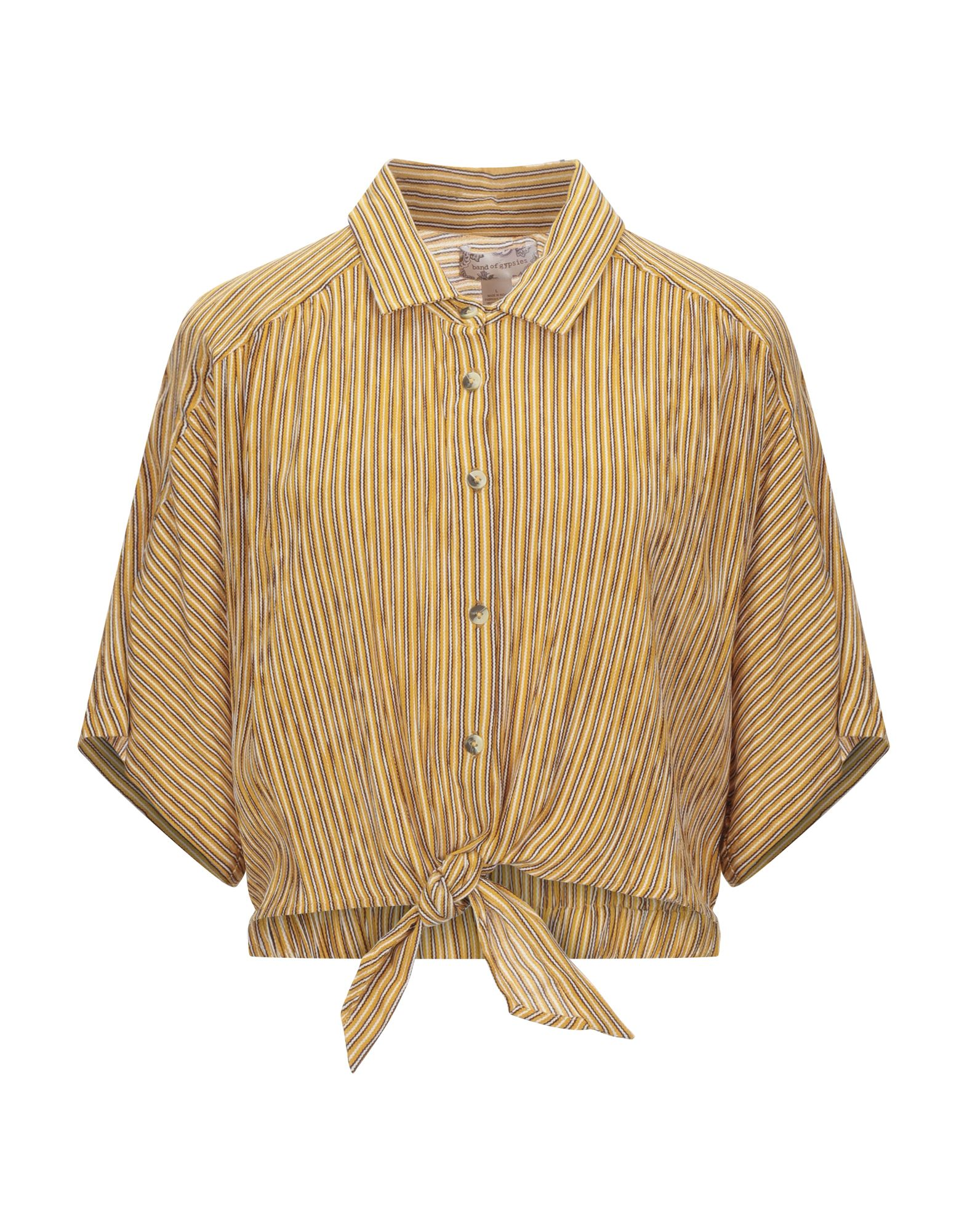 BAND OF GYPSIES Shirts. plain weave, bow-detailed, stripes, front closure, button closing, short sleeves, classic neckline, no pockets. 100% Viscose