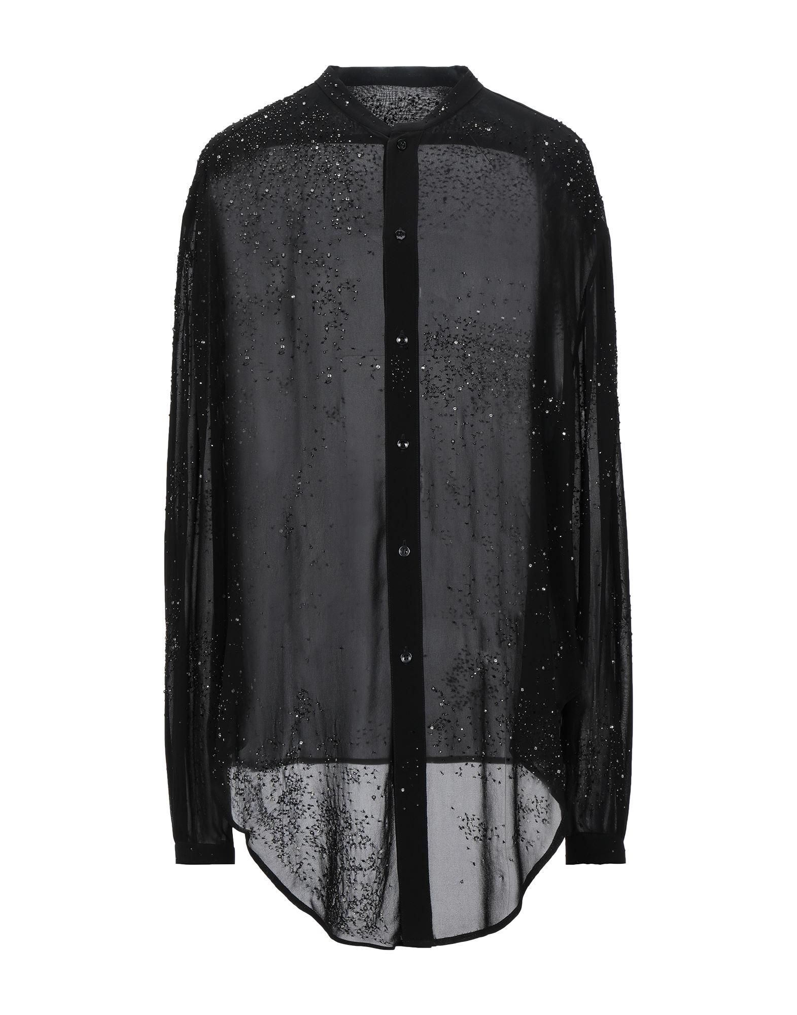 《セール開催中》SAINT LAURENT レディース シャツ ブラック 36 レーヨン 100% / 真鍮/ブラス / ポリエステル / プラスティック / ガラス