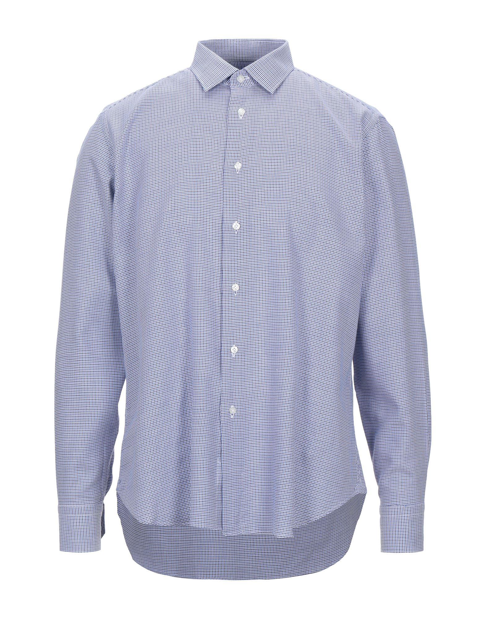 《セール開催中》ALVIERO MARTINI 1a CLASSE メンズ シャツ ブルー 42 コットン 100%