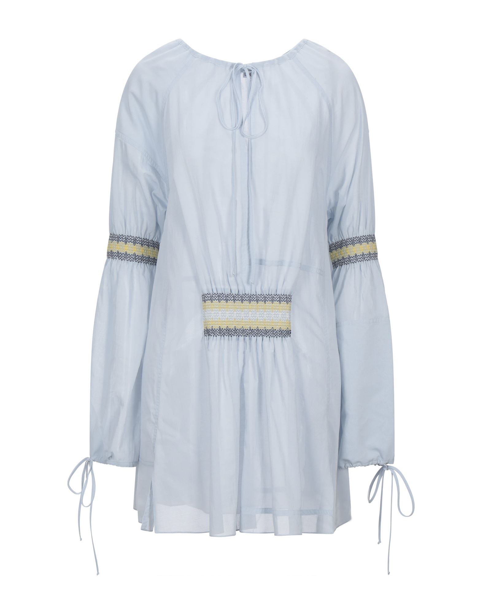 LOEWE Kaftans. crepe, embroidered detailing, laces, solid color, long sleeves, bow collar, no pockets. 54% Cotton, 46% Polyester