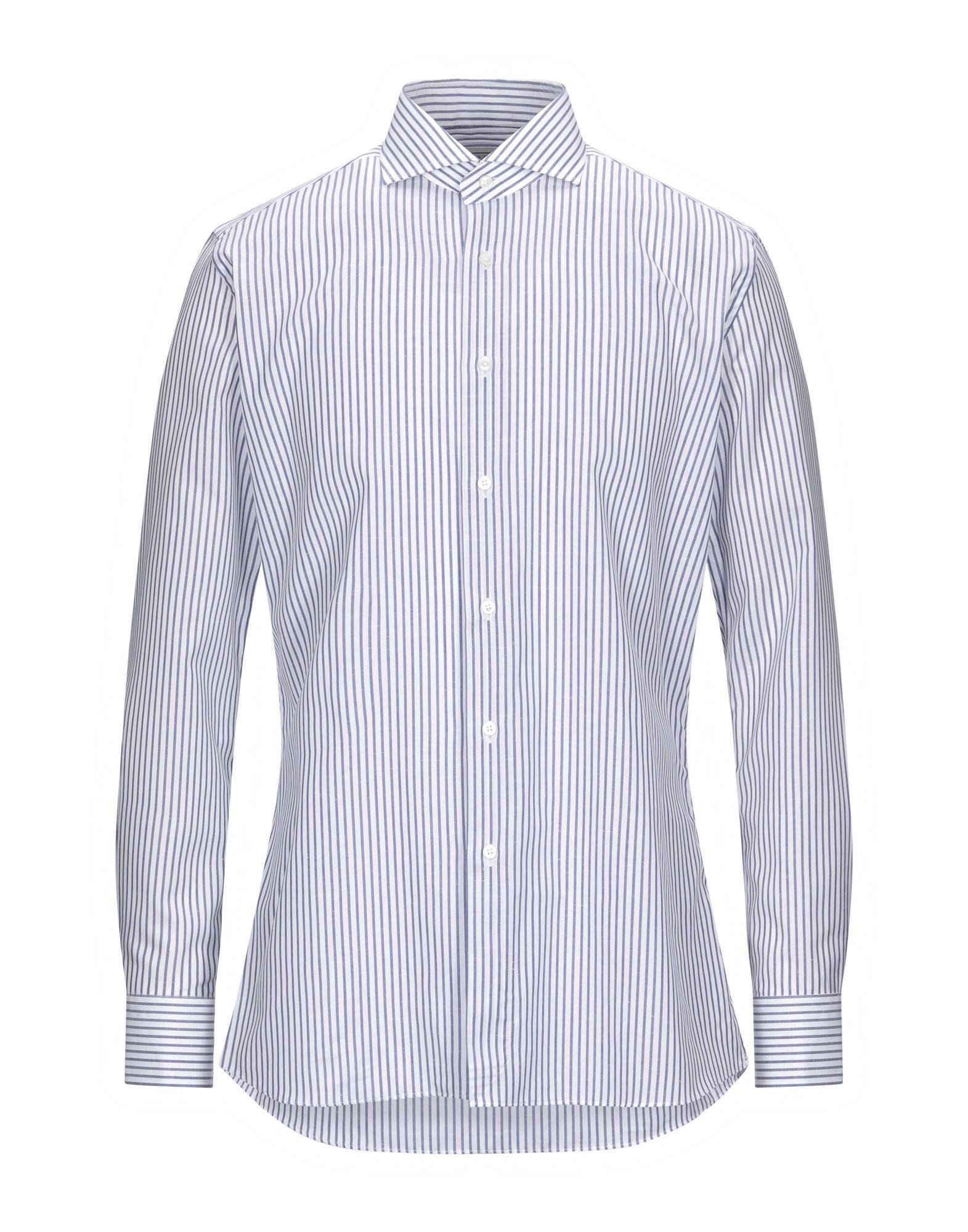 《セール開催中》XACUS メンズ シャツ ホワイト 40 コットン 71% / リネン 29%