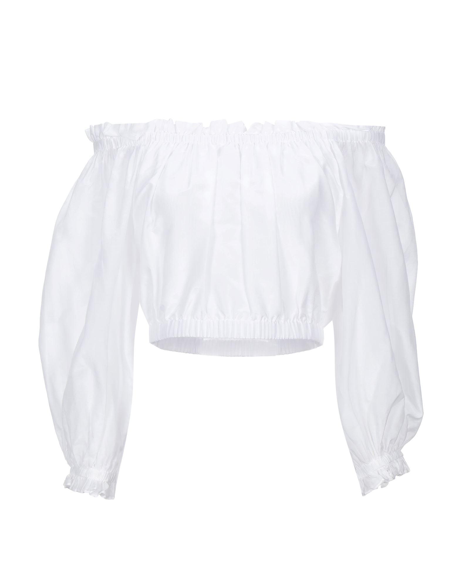 ALICE + OLIVIA Blouses. plain weave, no appliqués, basic solid color, long sleeves, wide neckline, no pockets. 70% Cotton, 30% Silk