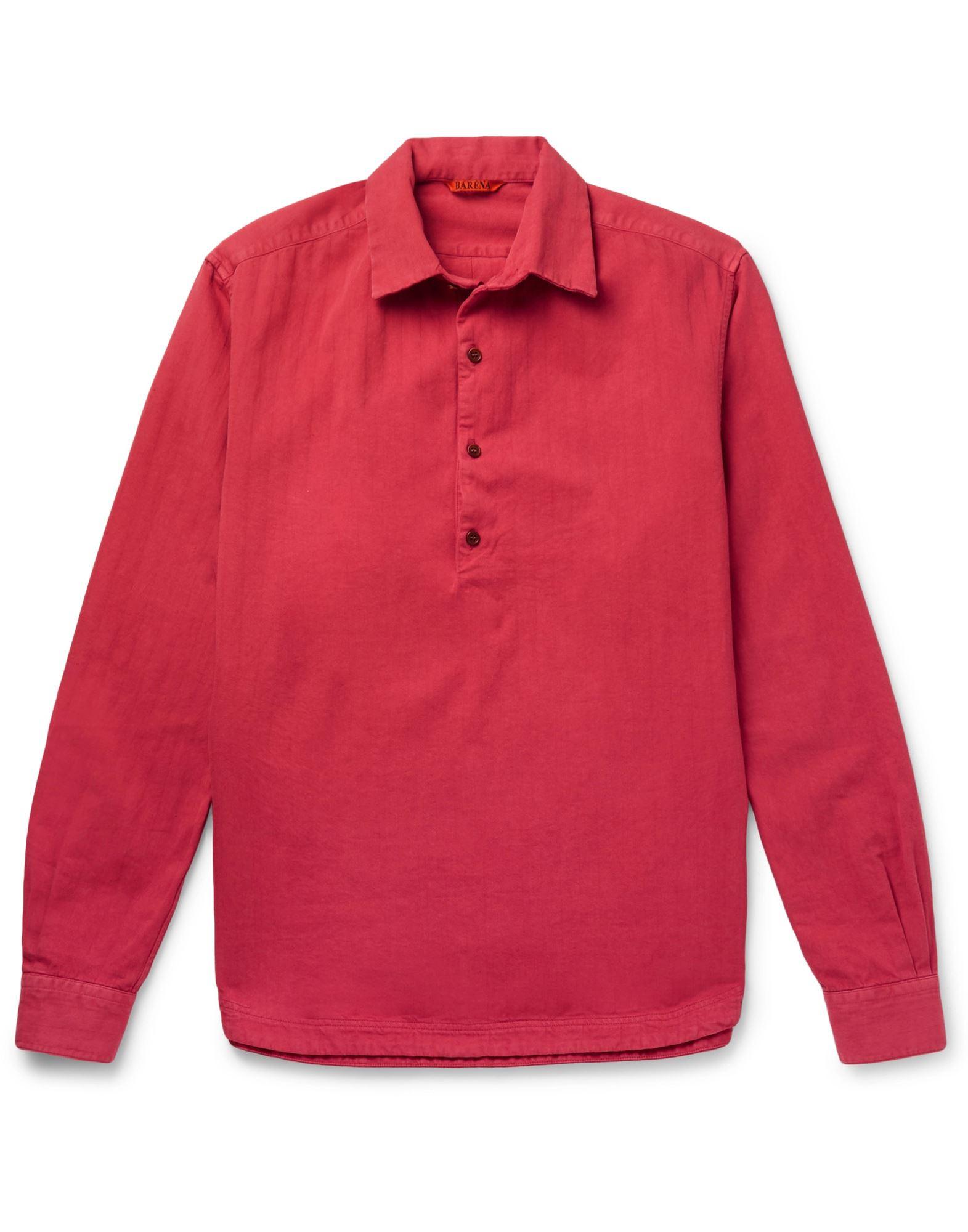 《セール開催中》BARENA メンズ シャツ レッド 44 コットン 100%