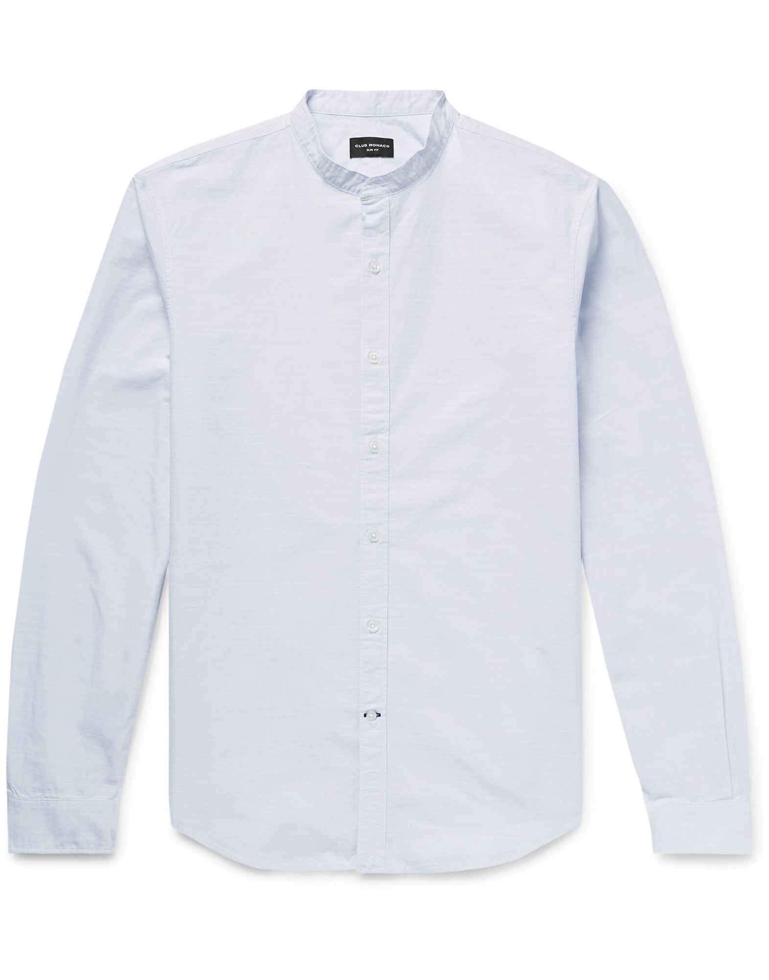 CLUB MONACO Shirts. plain weave, no appliqués, solid color, front closure, button closing, long sleeves, buttoned cuffs, mandarin collar, no pockets, slim fit. 100% Cotton