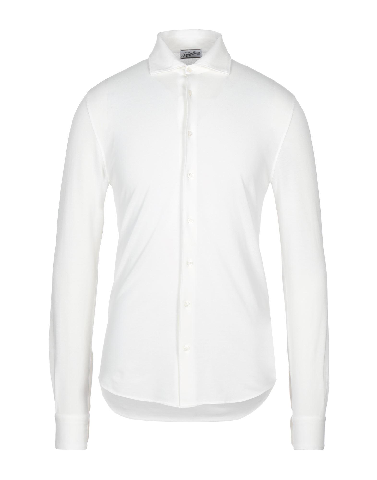 《セール開催中》S. MORITZ メンズ シャツ ホワイト 46 コットン 100%
