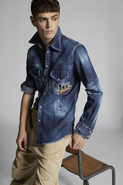 DSQUARED2 Homme Chemise en jean Bleu Taille 44 98% Coton 2% Élasthanne