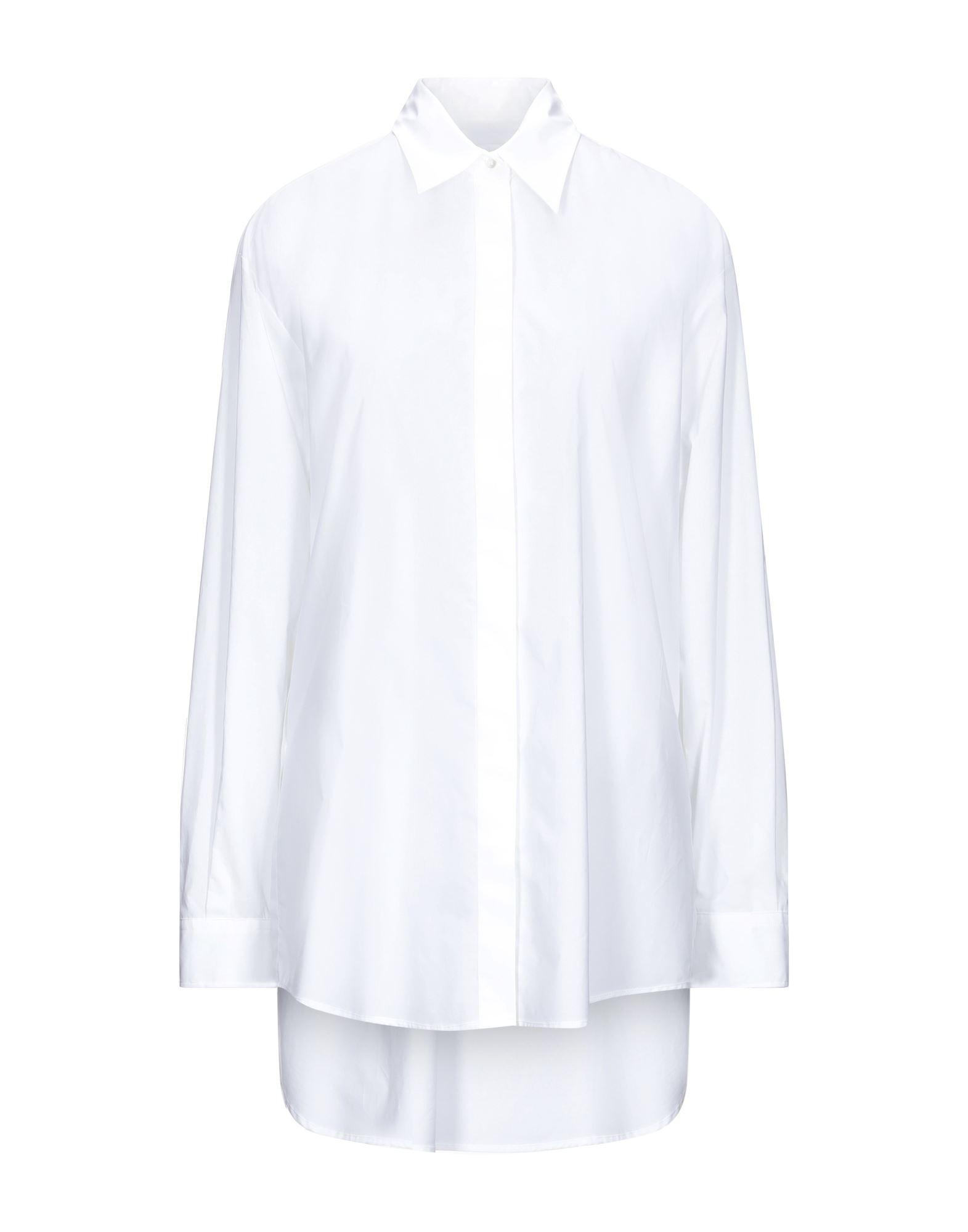 MM6 MAISON MARGIELA Shirts. plain weave, logo, print, basic solid color, long sleeves, buttoned cuffs, lapel collar, no pockets. 100% Cotton