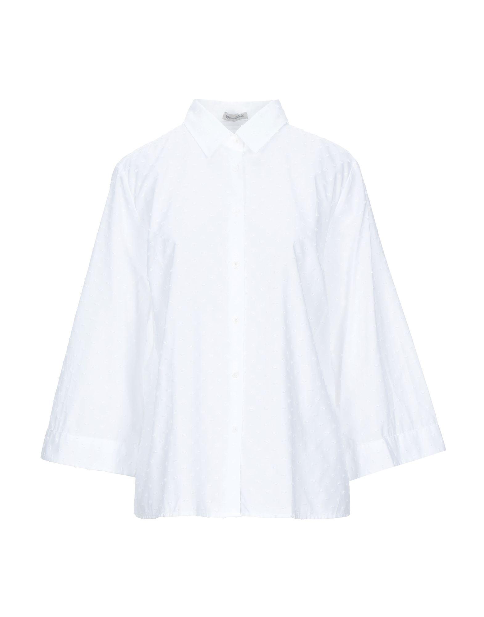 《セール開催中》CAMICETTASNOB レディース シャツ ホワイト 46 コットン 100%