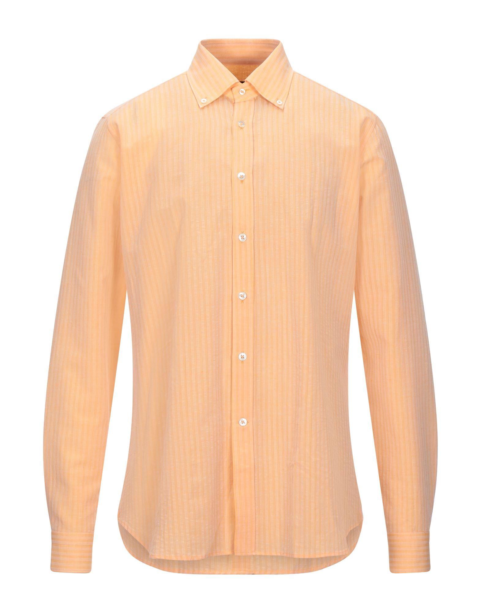 《セール開催中》CALIBAN メンズ シャツ あんず色 39 コットン 80% / リネン 20%