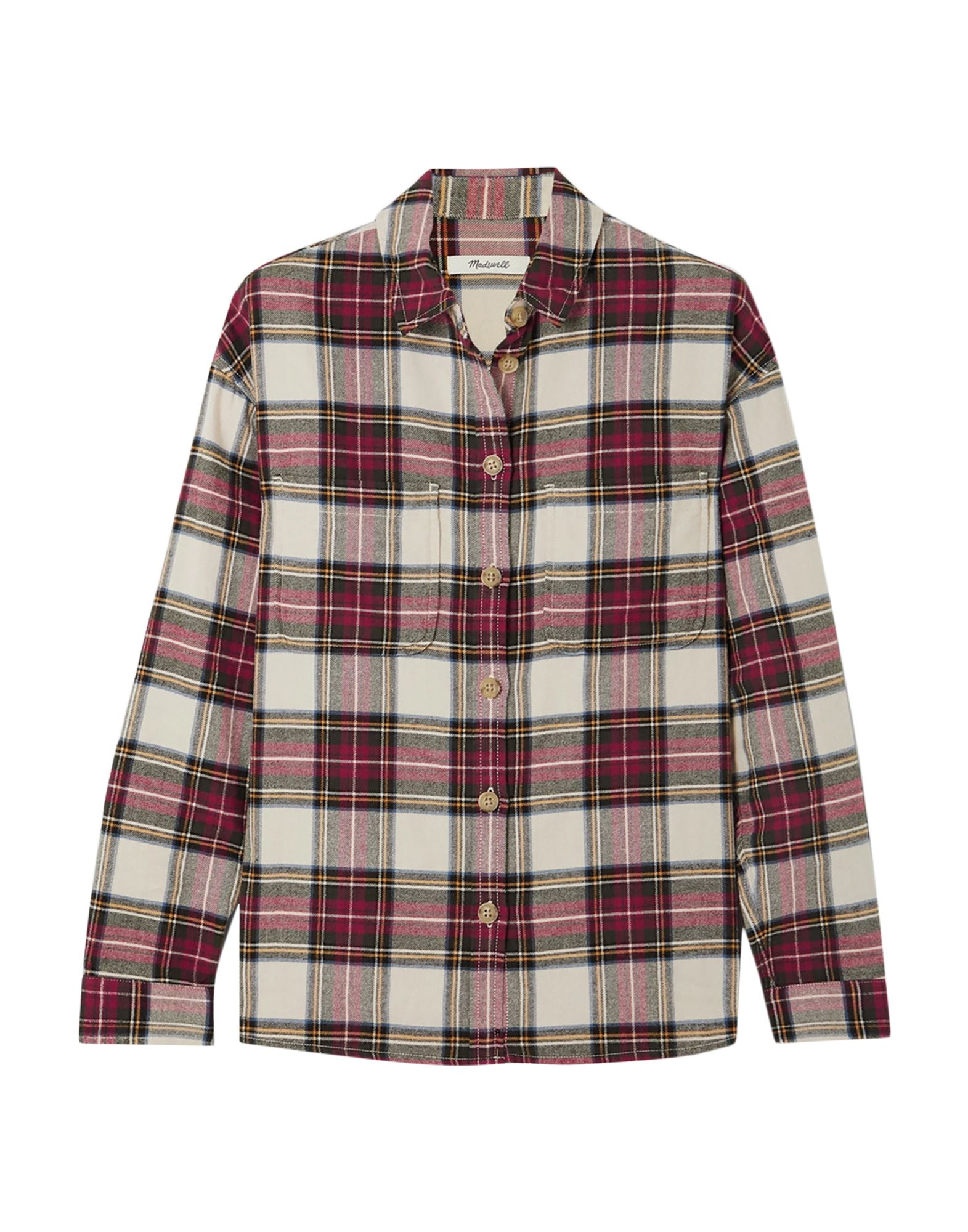 MADEWELL Shirts. flannel, no appliqués, tartan plaid, front closure, button closing, long sleeves, buttoned cuffs, classic neckline, two breast pockets. 100% Cotton